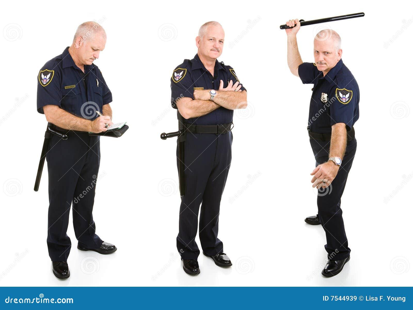 Oficer policja trzy widoku