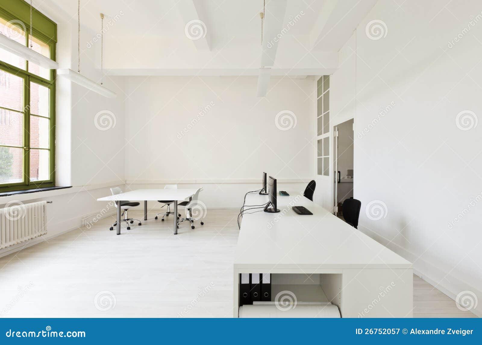 Oficina Con Blanco De Los Muebles Imagen De Archivo Imagen De