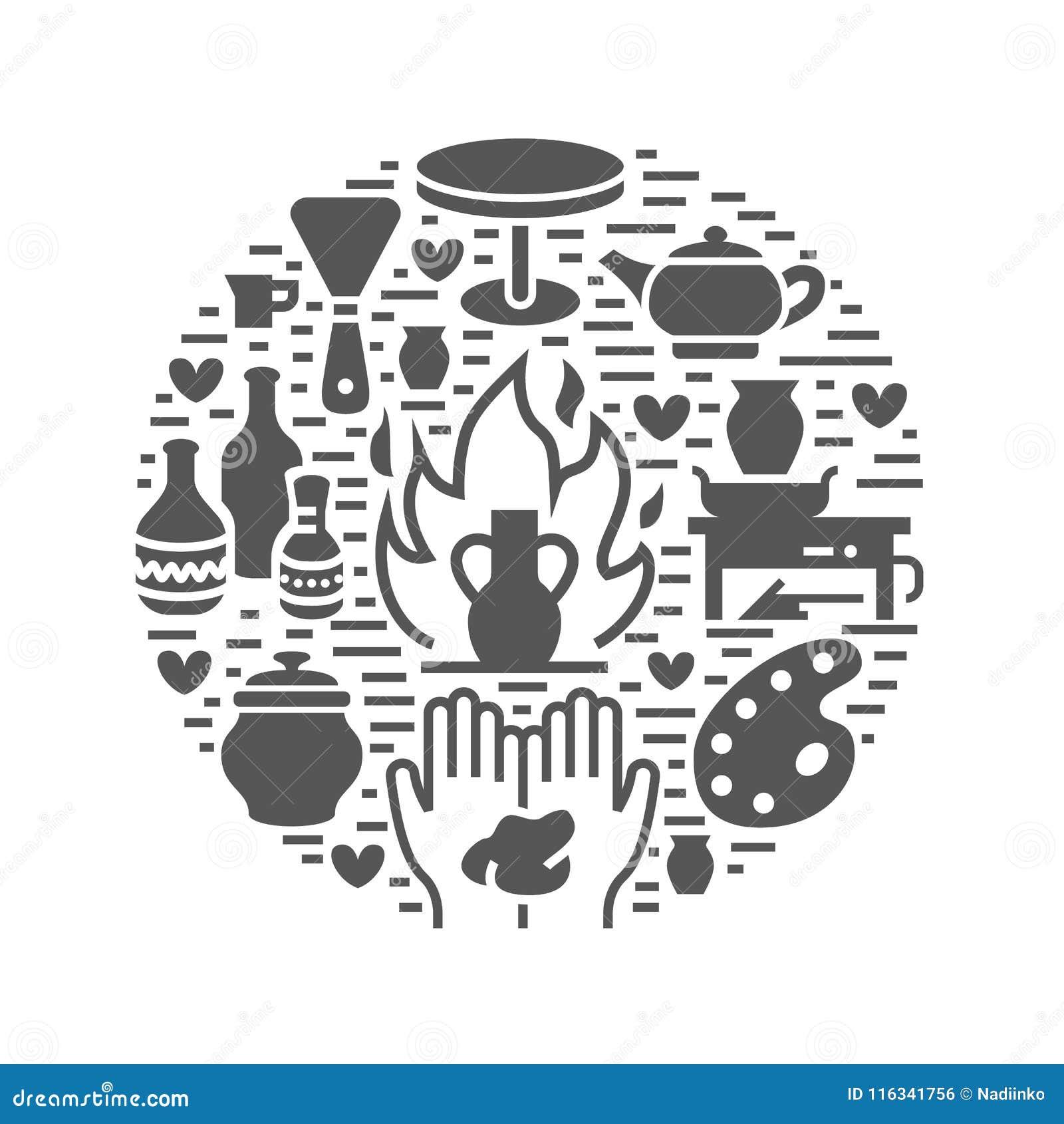 A oficina da cerâmica, cerâmica classifica a ilustração da bandeira Ícone do glyph do vetor de ferramentas do estúdio da argila C