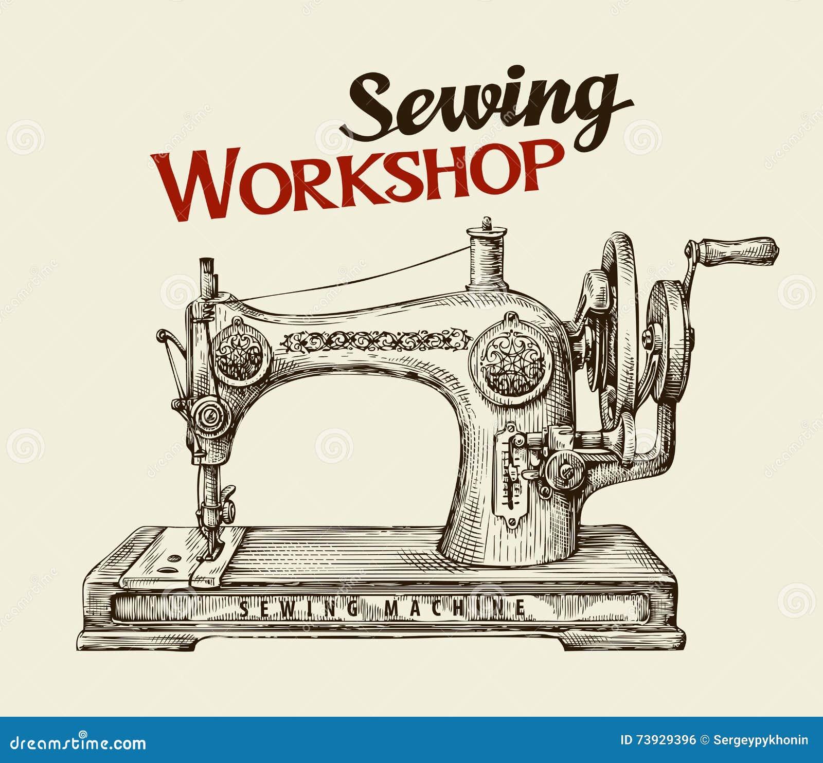Oficina da costura ou loja do alfaiate Máquina tirada mão do vintage Ilustração do vetor