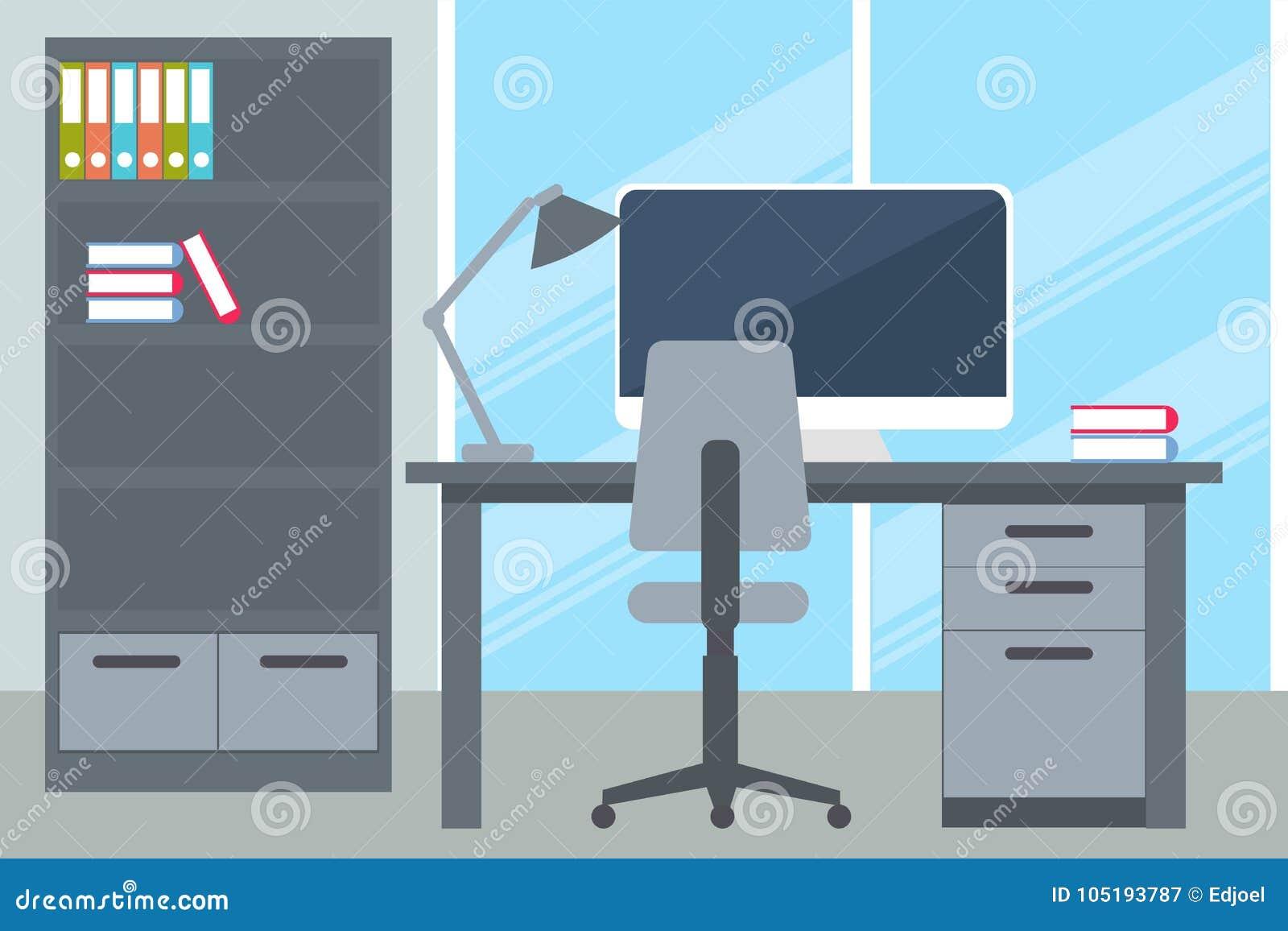 Oficina de negocios con el escritorio y el ordenador