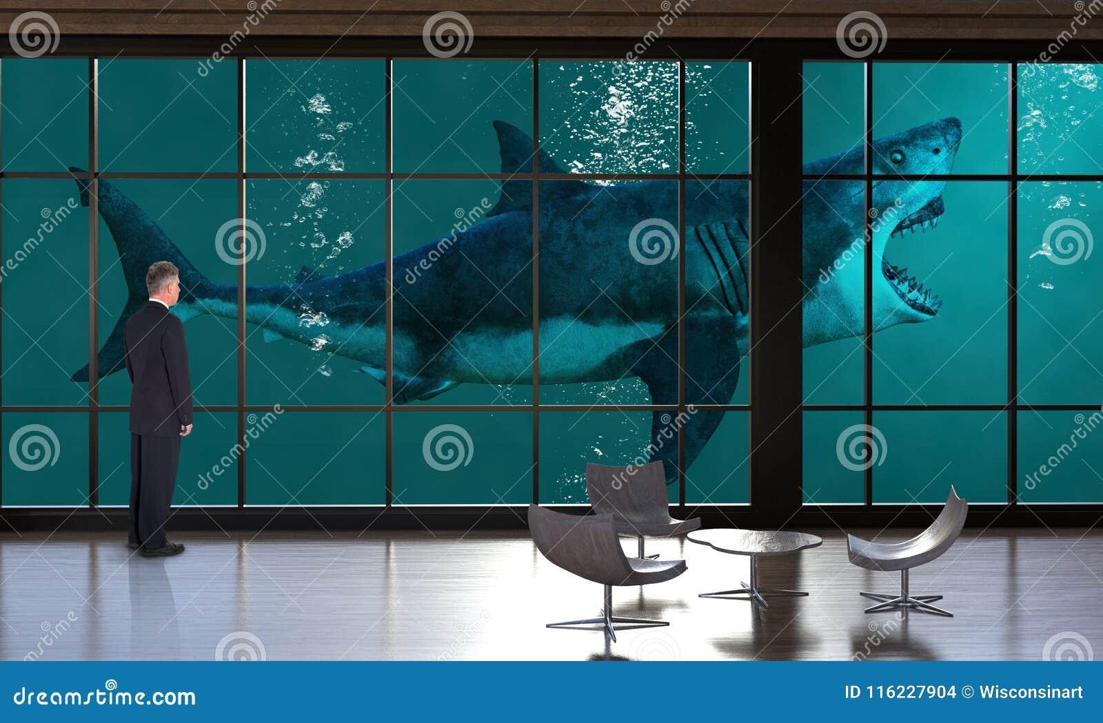 Oficina de negocios surrealista, ventas, márketing, tiburón