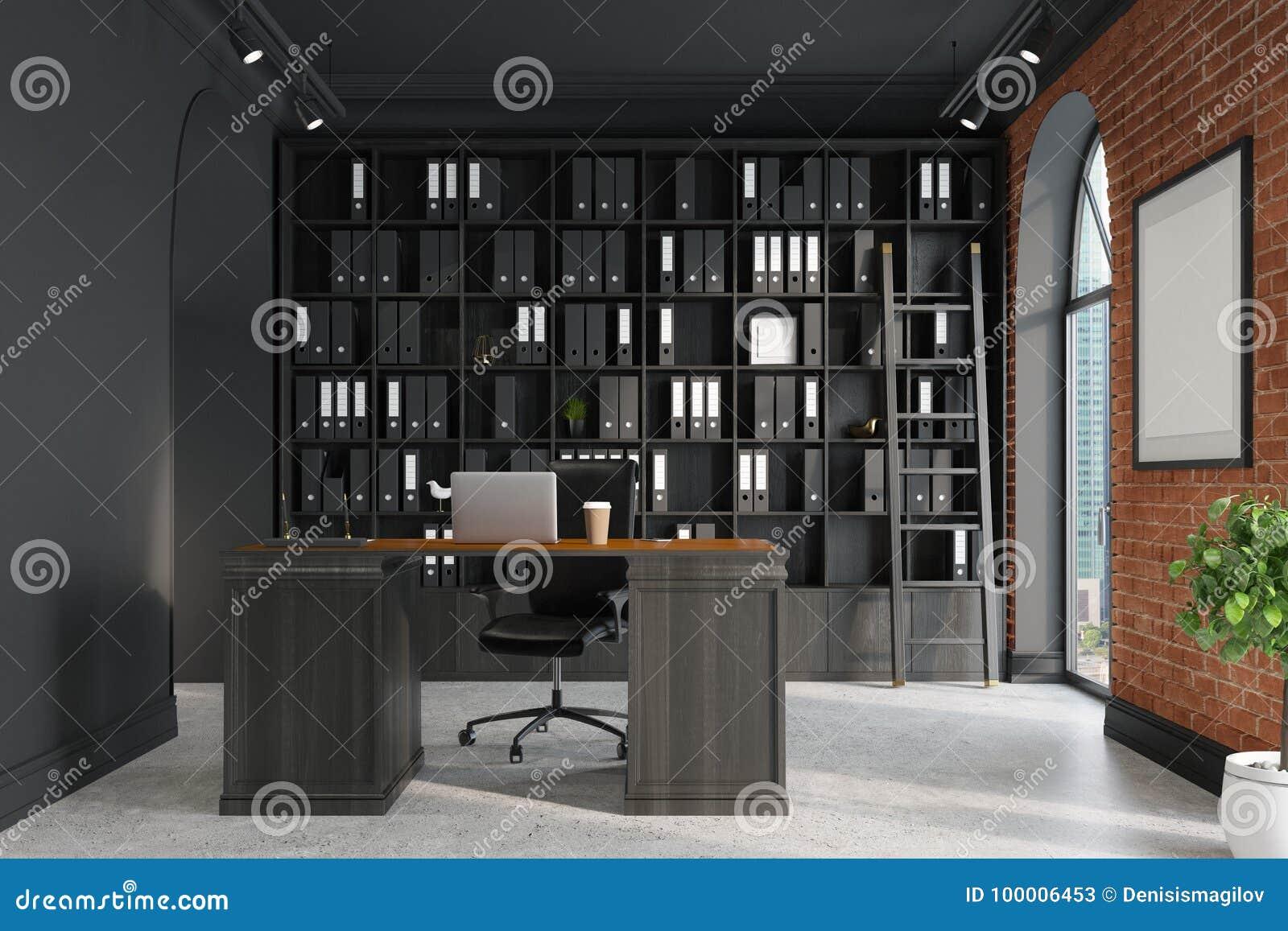 Oficina Del CEO, Estante Para Libros Y Tabla, Escalera Stock de ...