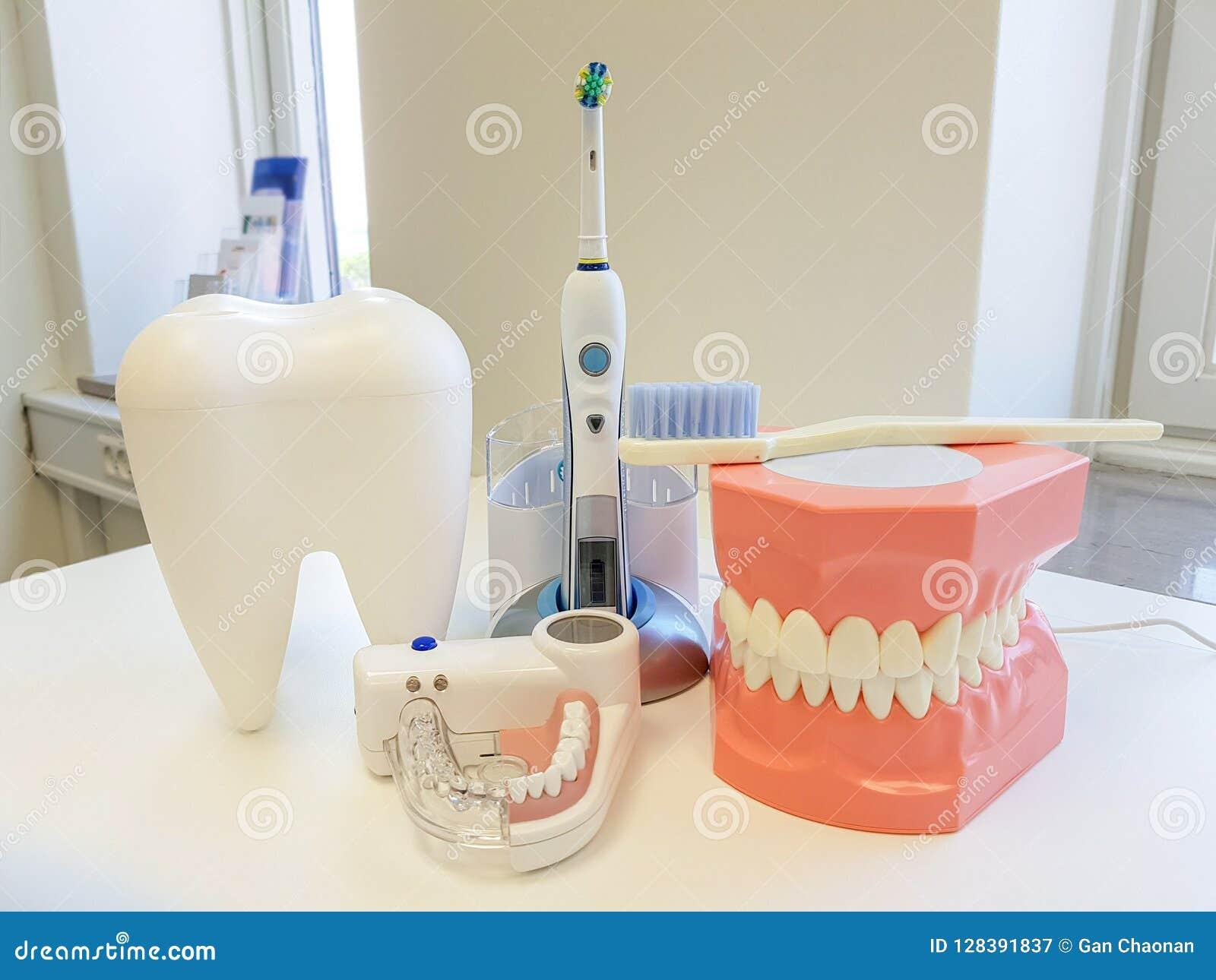 Oficina del dentista Herramienta ortodóntica del modelo y del dentista