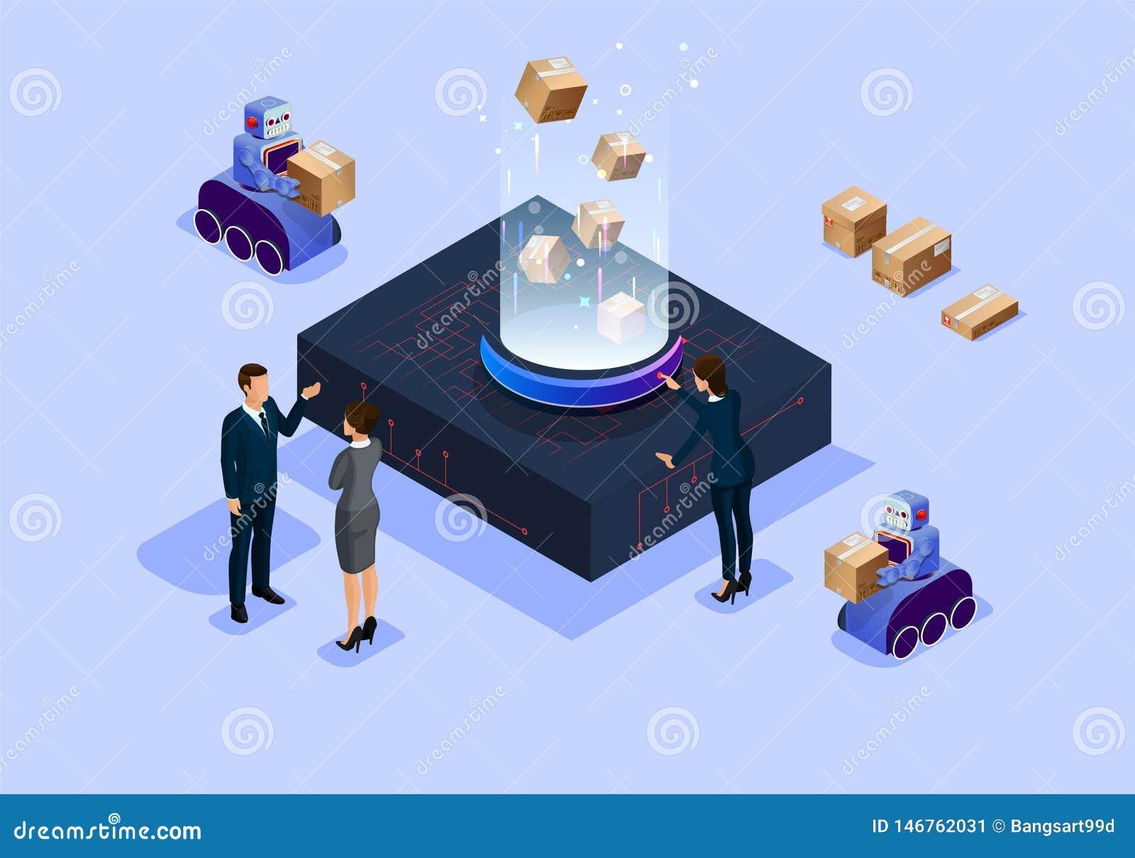 Oficina inteligente isométrica de la ciencia y de la tecnología del futuro del ejemplo