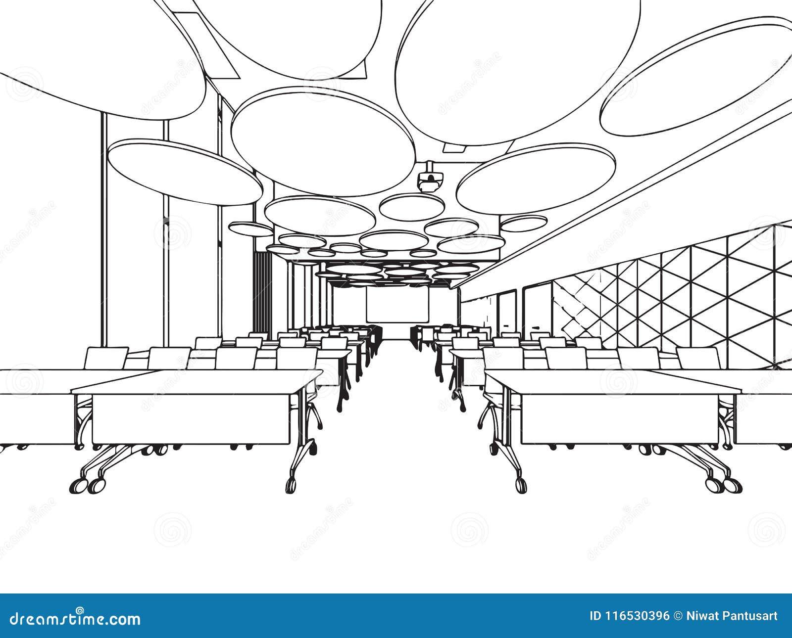 Oficina Interior De La Perspectiva Del Dibujo De Bosquejo Del