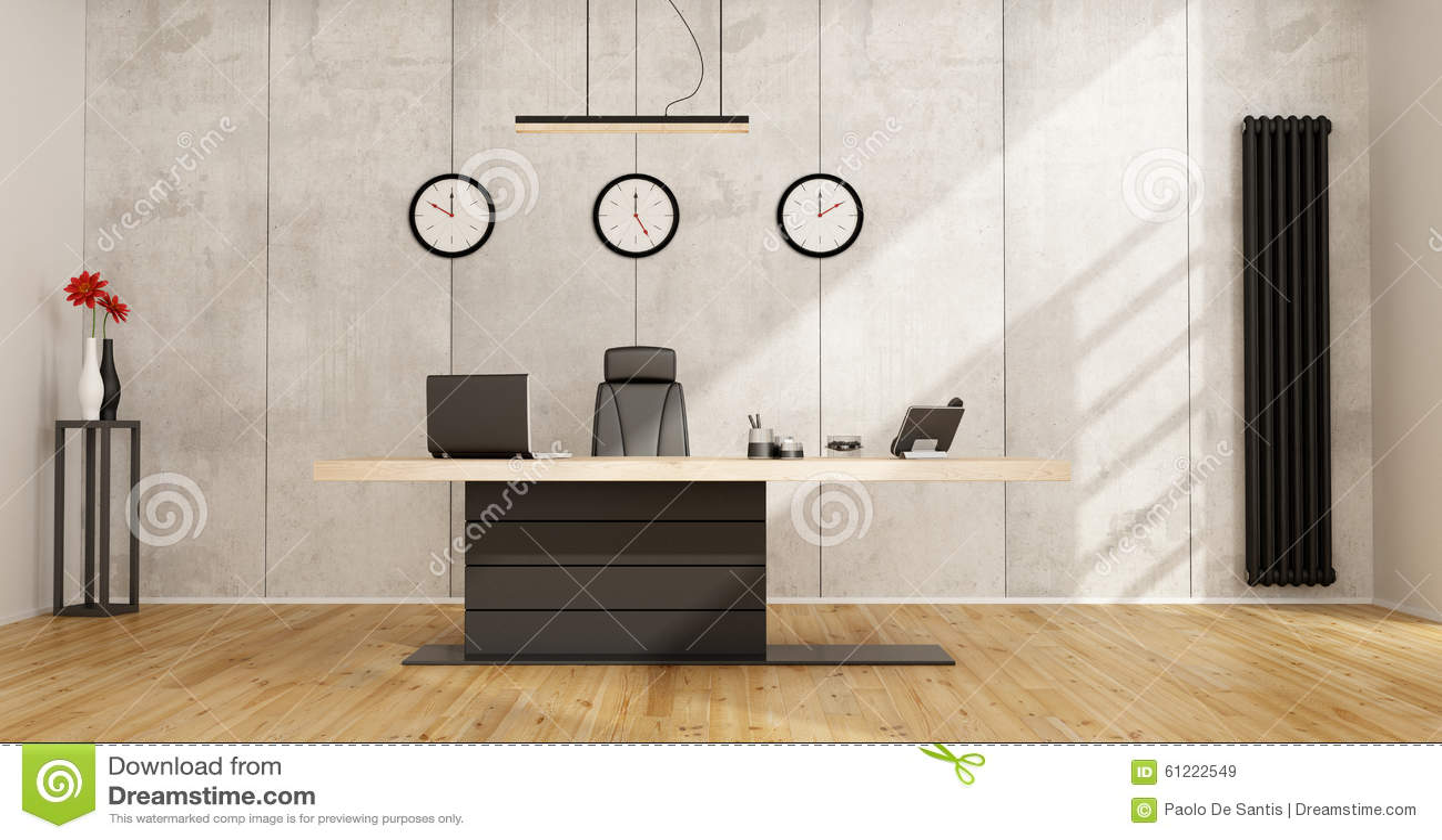 oficina minimalista con el escritorio moderno stock de ilustracin