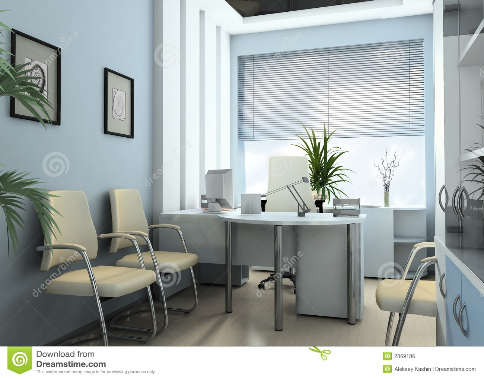 Oficina moderna del contador imagen de archivo libre de for Fotos de oficinas pequenas modernas
