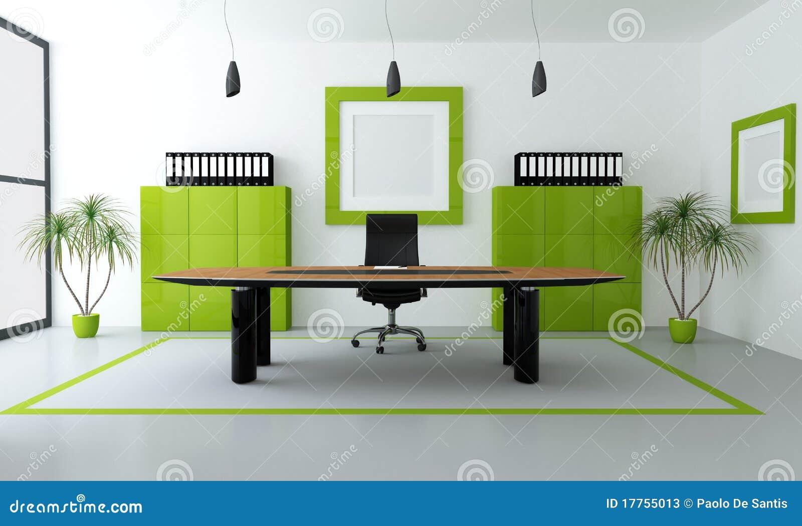 Espacio de oficina verde y negro minimalista - representaciu00f3n.