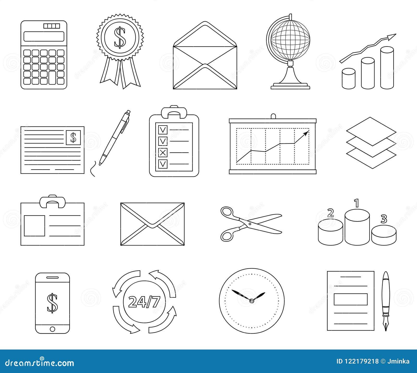 Oficina Y Línea De Negocio Iconos Ilustración del Vector ...