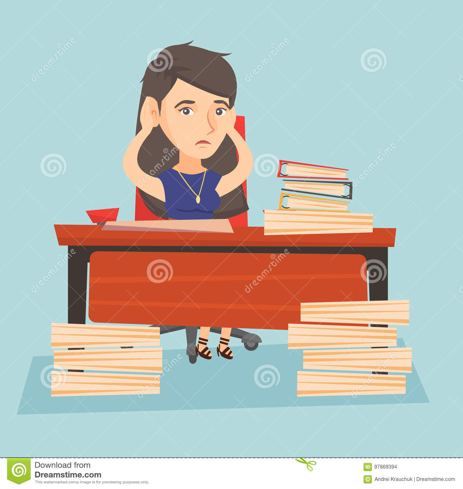 Oficinista de la desesperación que se sienta en el lugar de trabajo