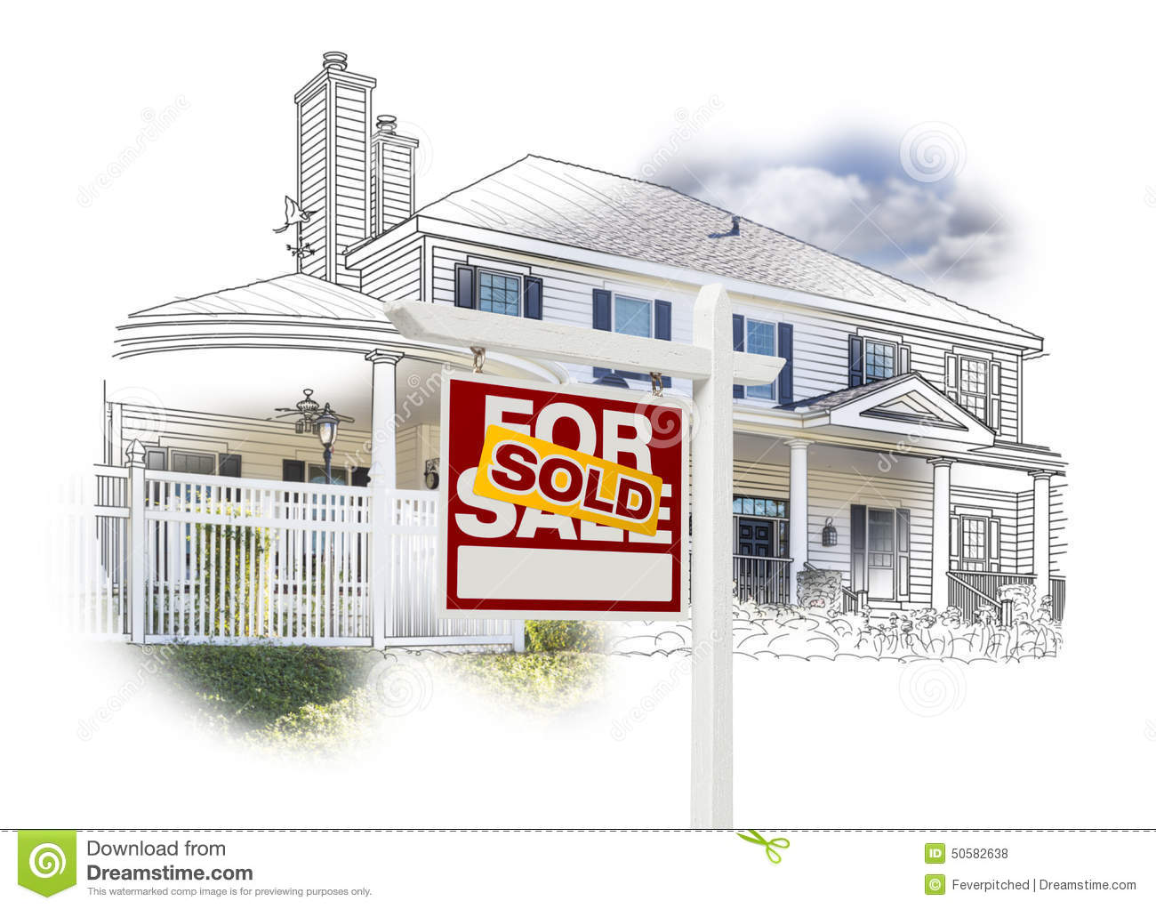ofSold Sign in Front House Drawing and Photo on White