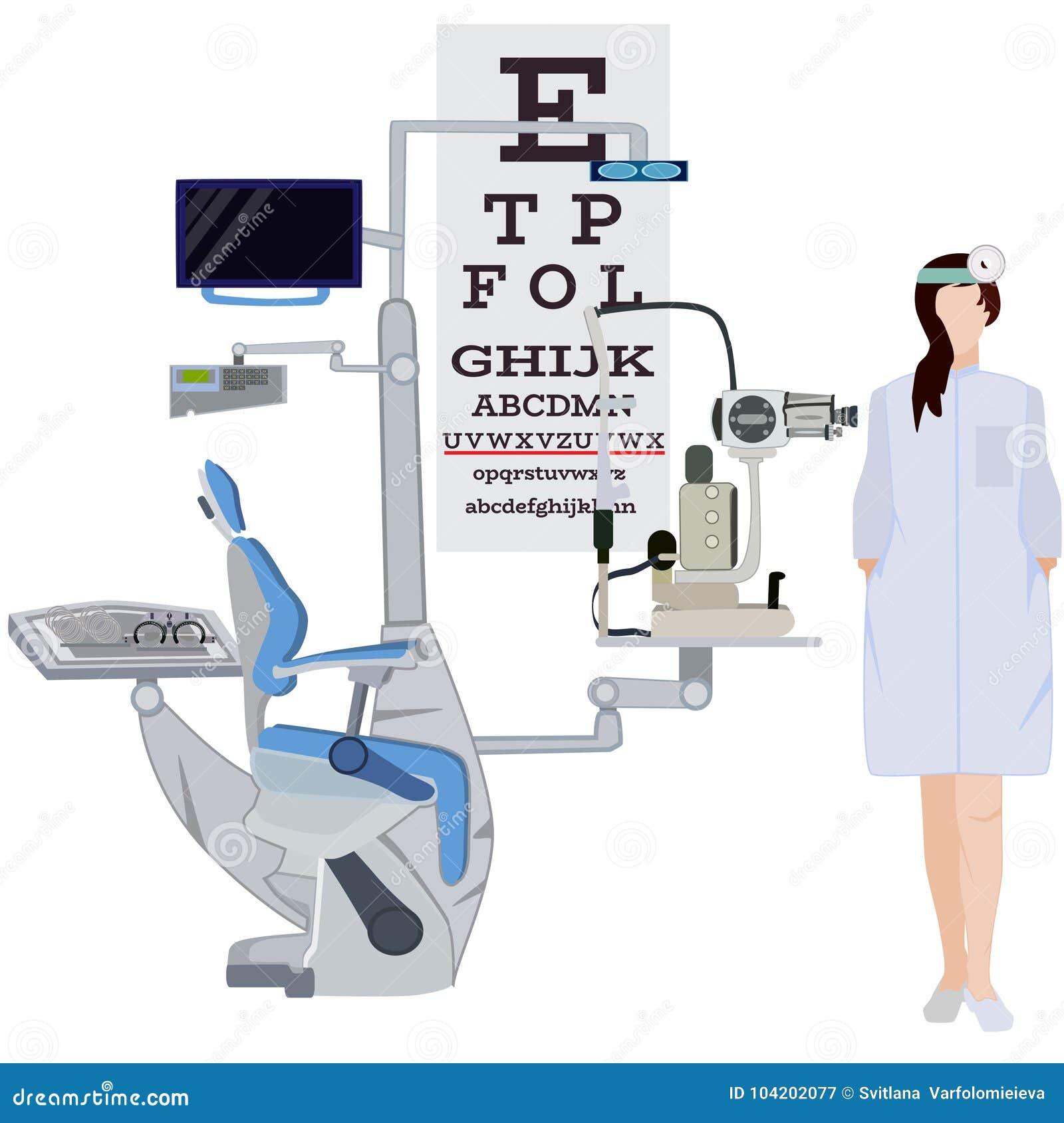 Oftalmologa i ocznego wyposażenia wektorowa płaska ilustracja