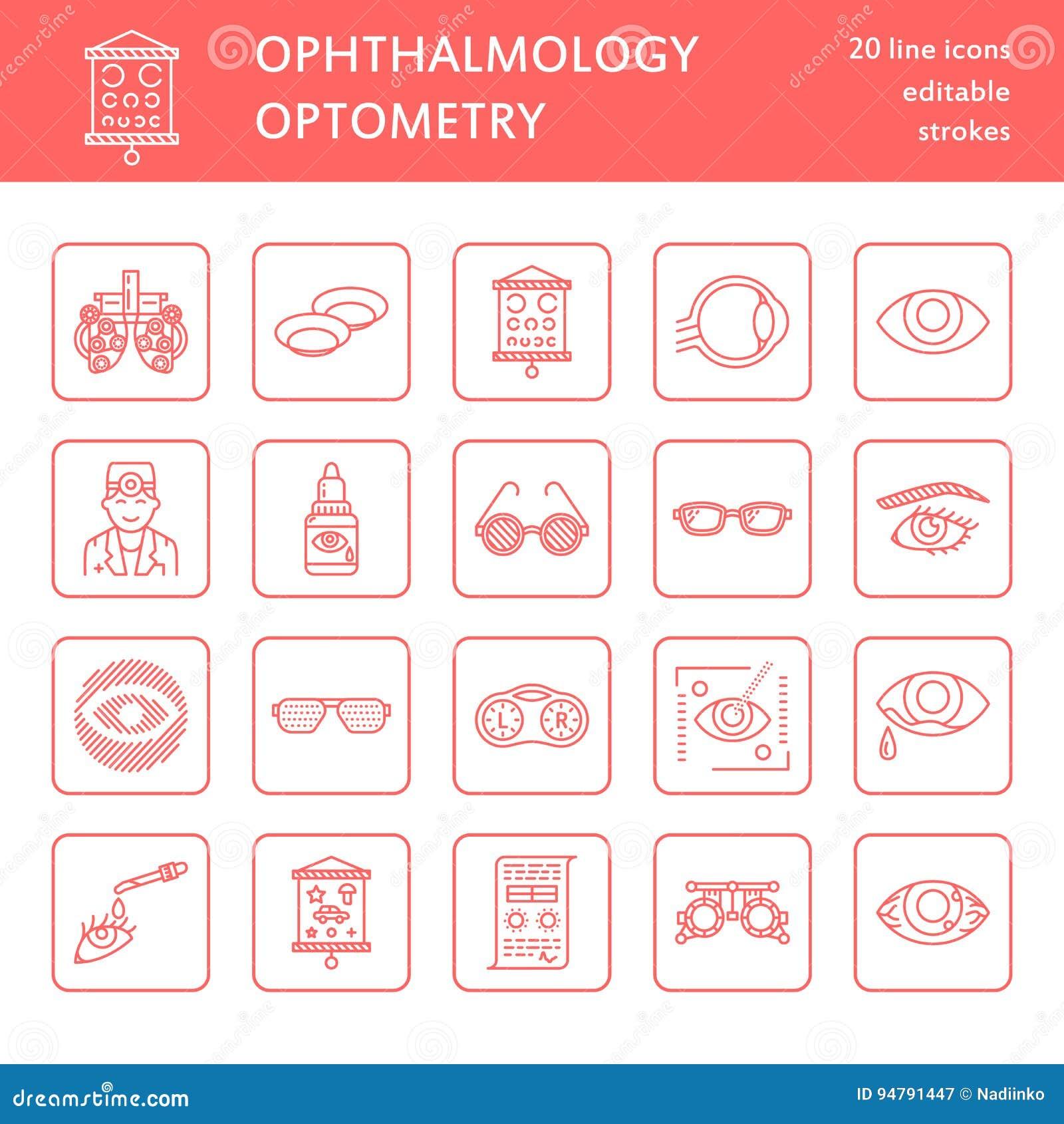 Oftalmologia, linha ícones dos cuidados médicos dos olhos Equipamento da optometria, lentes de contato, vidros, cegueira Correção