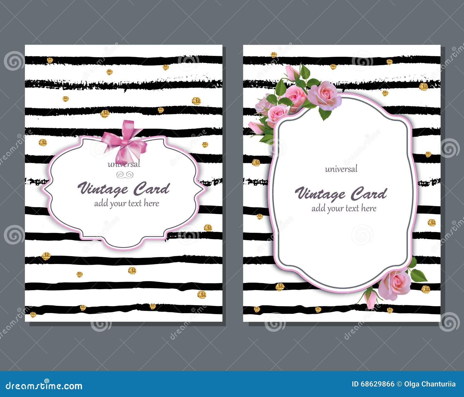 Ogólnoludzki Wektorowy Romantyczny Karciany Szablon Z Różowymi