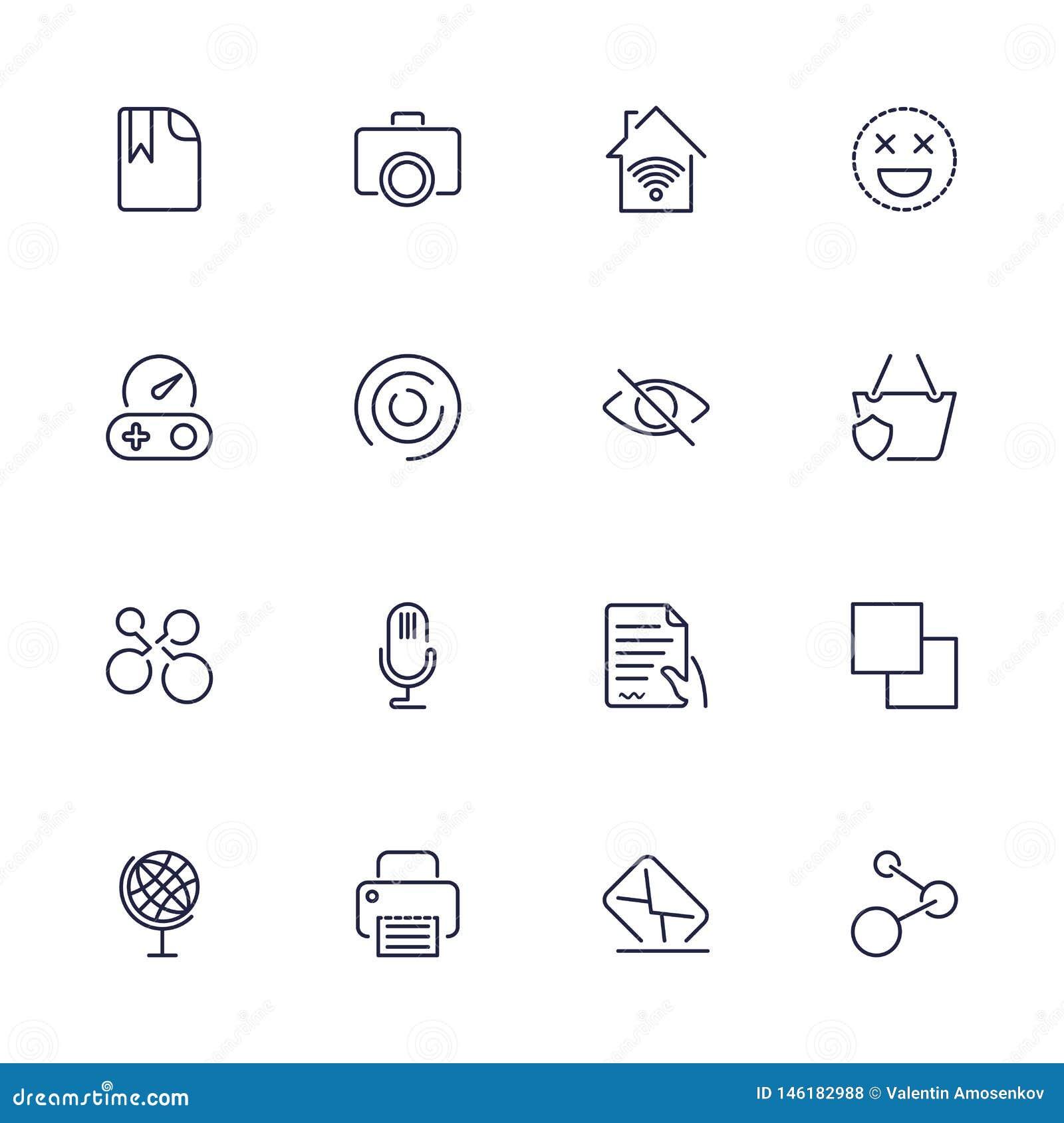 Ogólnoludzkie sieci ikony używać w sieci UI i wiszącej ozdobie, set podstawowa UI sieci elementów kartoteka, drukarka, poczta, gr