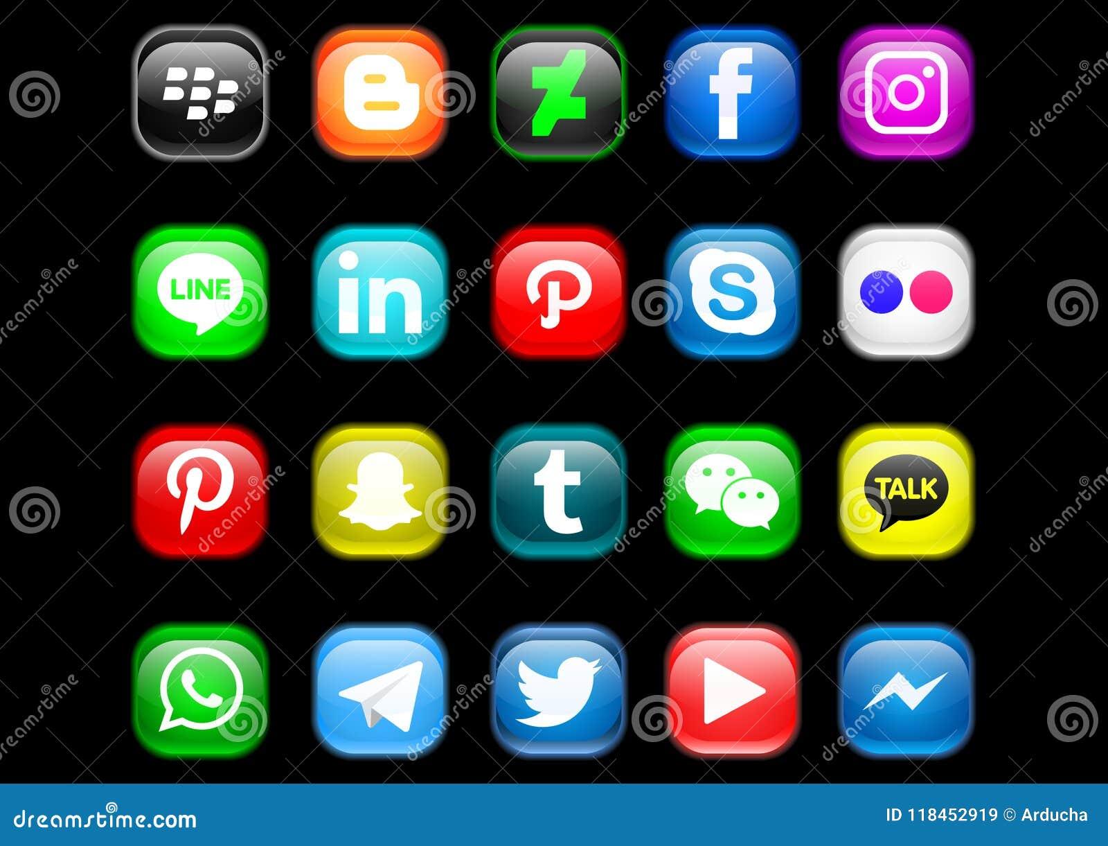 Ogólnospołeczna medialna ikony paczka