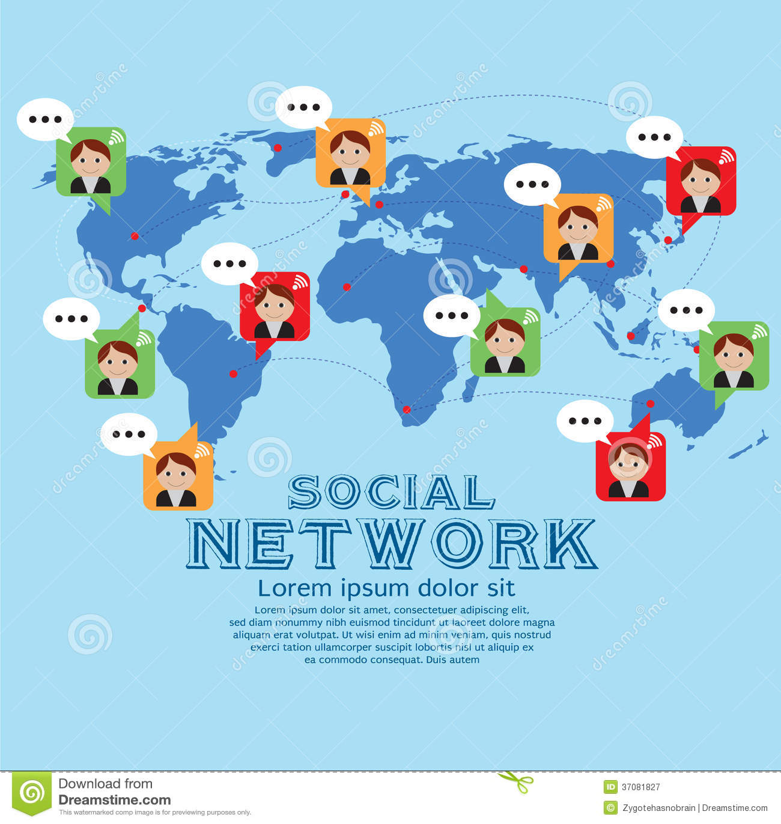 Download Ogólnospołeczna sieć. ilustracja wektor. Ilustracja złożonej z grupa - 37081827
