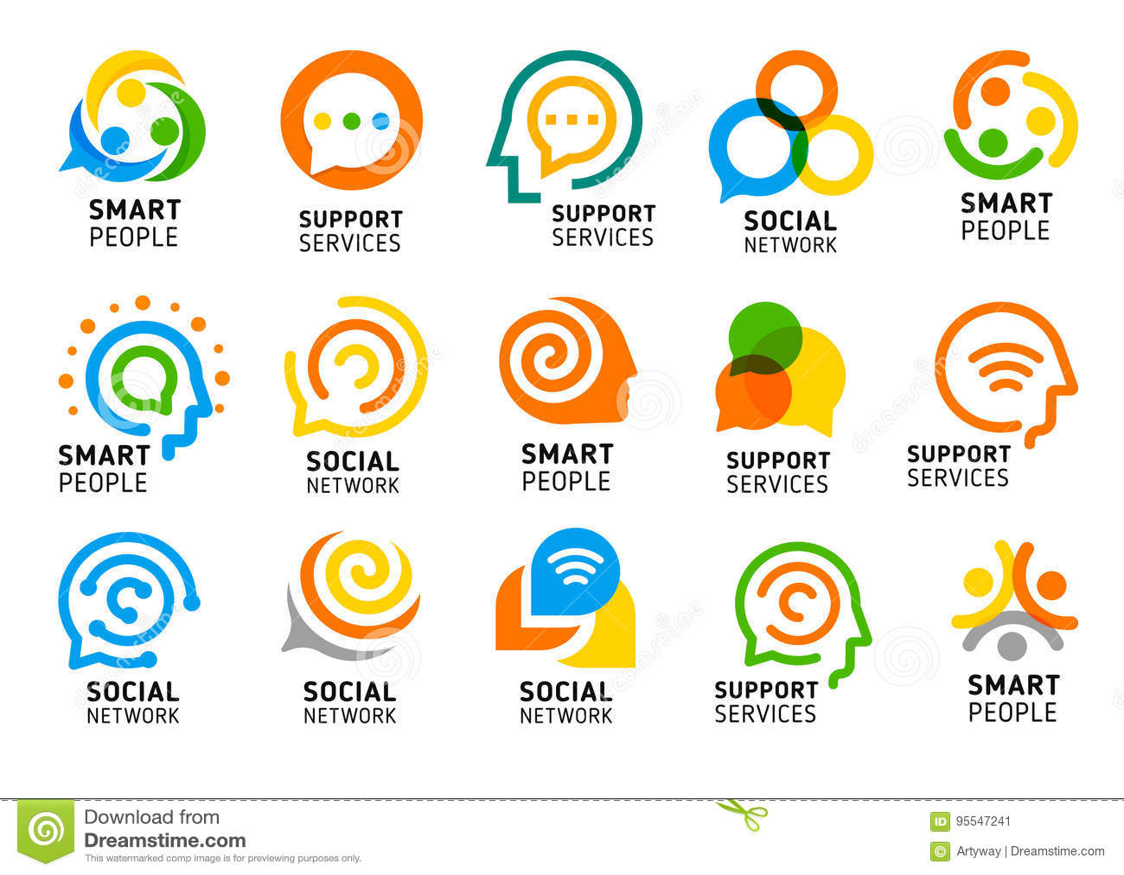 Ogólnospołeczna sieć dla mądrze ludzi z kreatywnie mózg Serwis pomocy ikony set Kolorowa wektorowa logo kolekcja