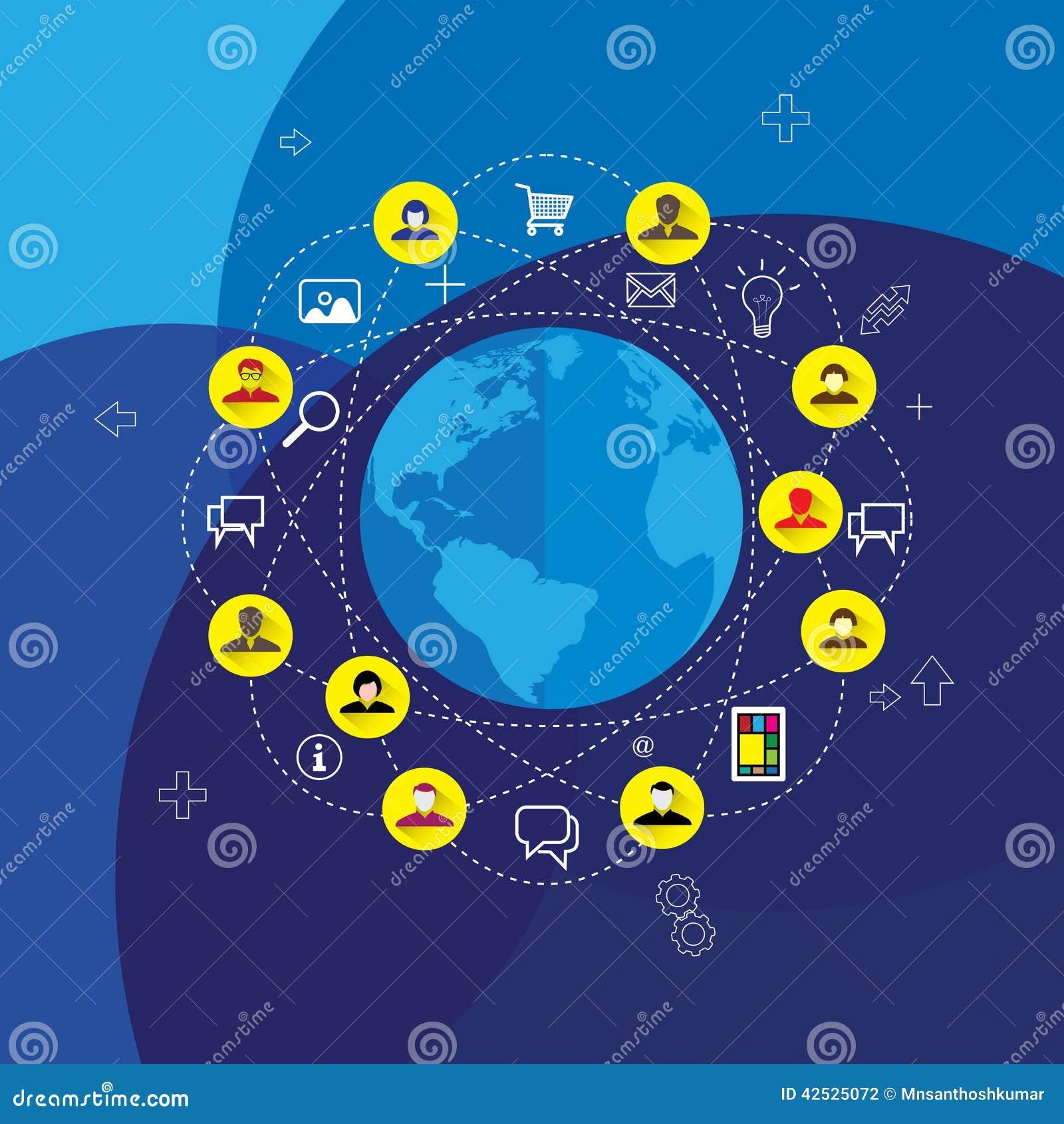 Ogólnospołeczni środki & sieci pojęcia wektor z płaskimi projekt ikonami