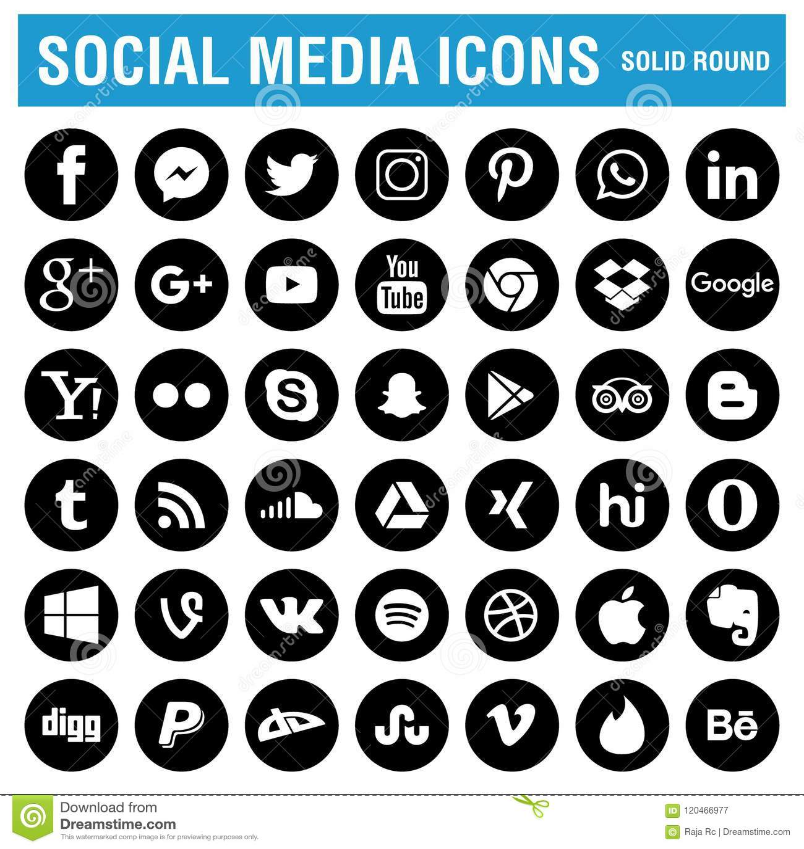 Ogólnospołeczny medialny ikony czerń round