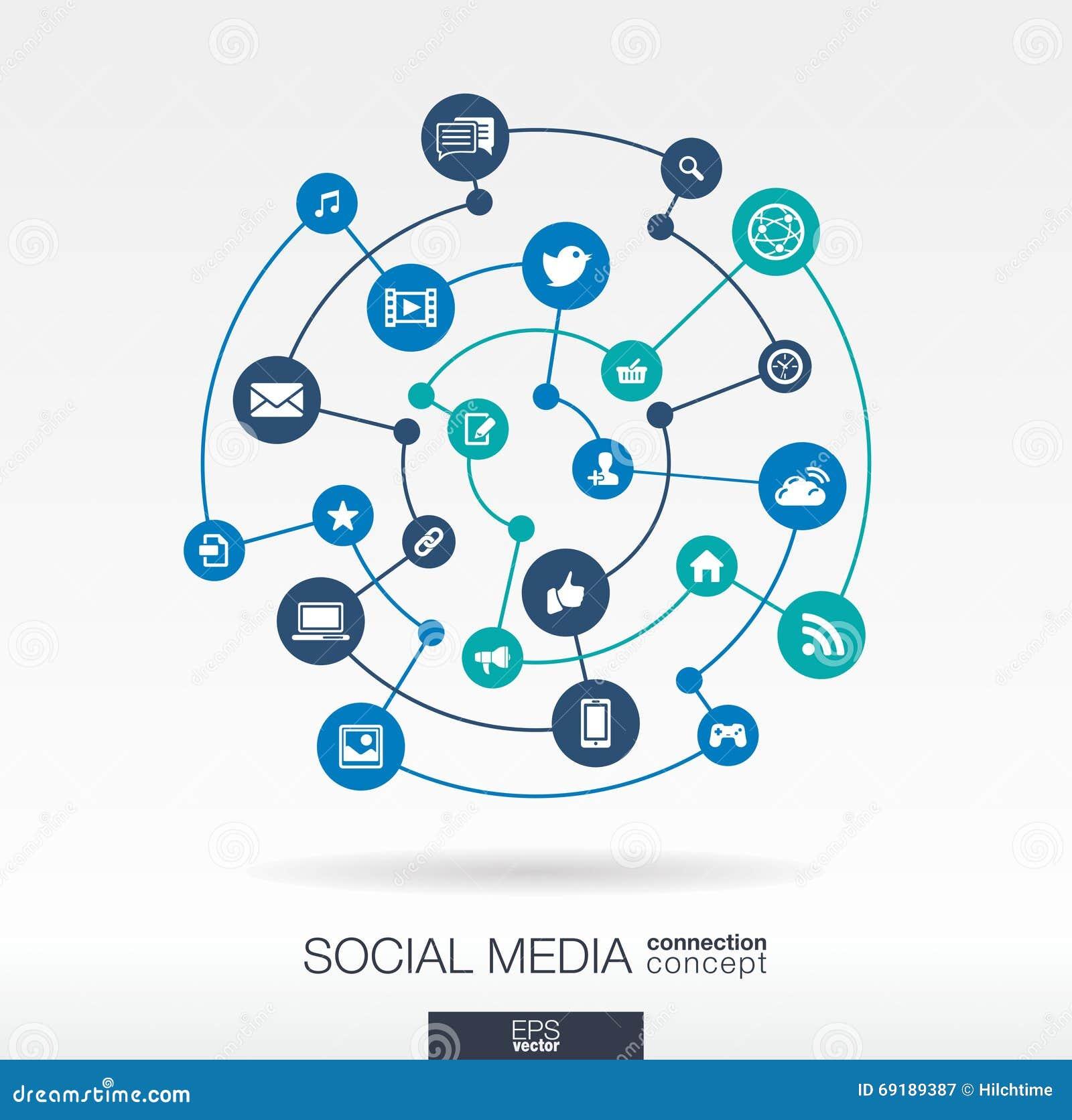 Ogólnospołeczny medialny podłączeniowy pojęcie Abstrakcjonistyczny tło z zintegrowanymi okręgami i ikonami dla sieci technologii