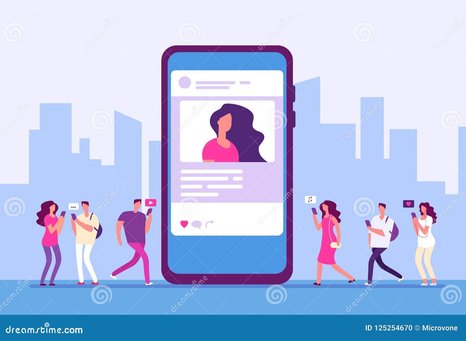 Ogólnospołeczny medialny pojęcie Ludzie podążają smartphone z marketingiem, wiadomością i ikonami interneta, Ogólnospołeczny komu