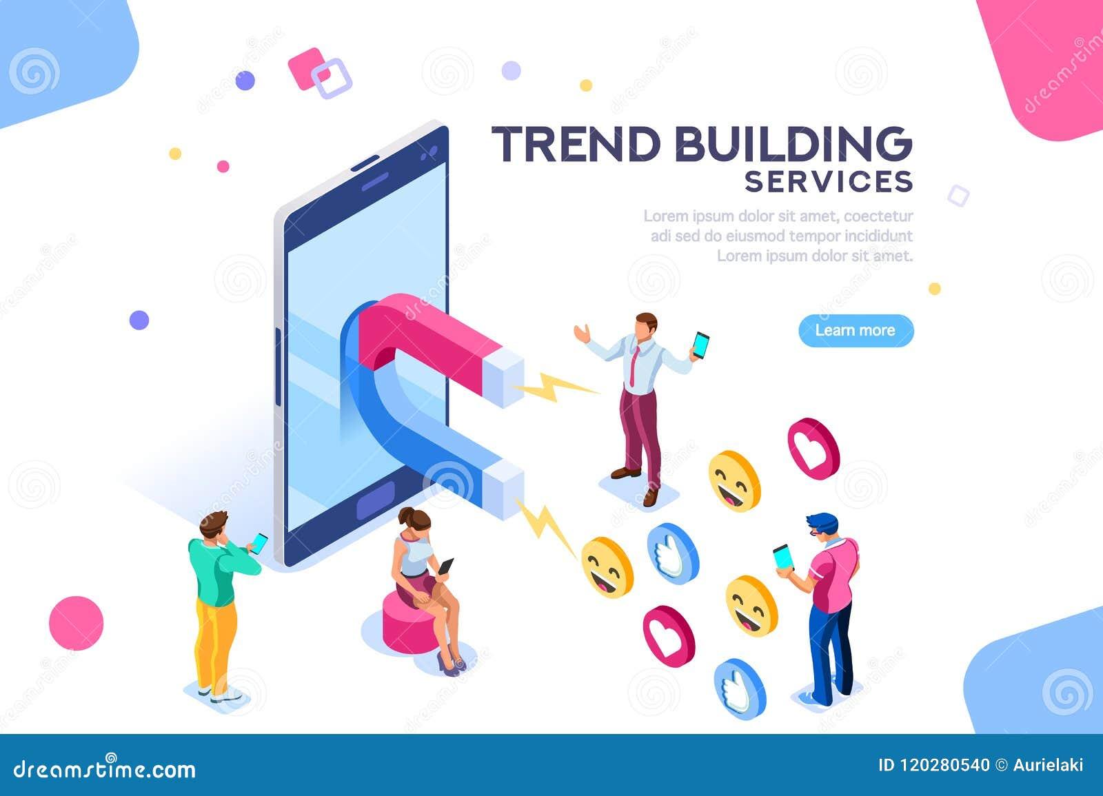Ogólnospołeczny Medialny zwolennika trendu pojęcia mieszkanie Isometric