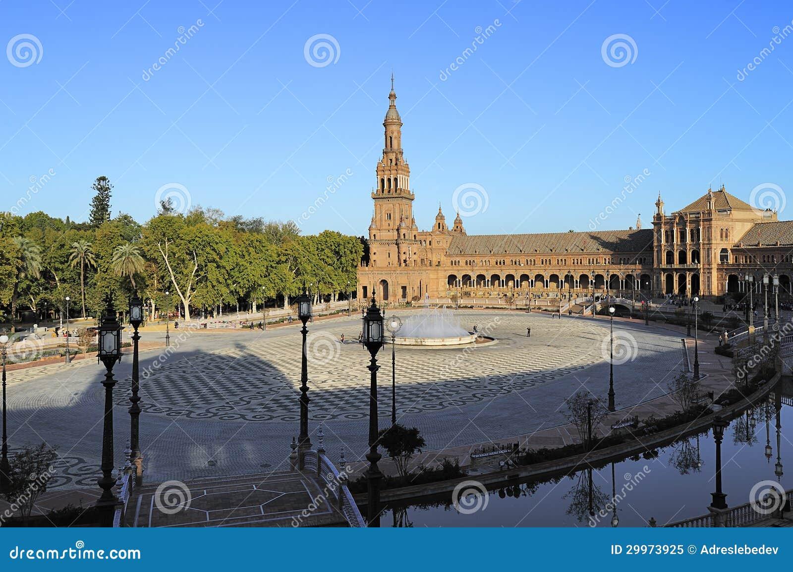 Widok plac De Espana, Seville, Hiszpania (Hiszpania Obciosuje)
