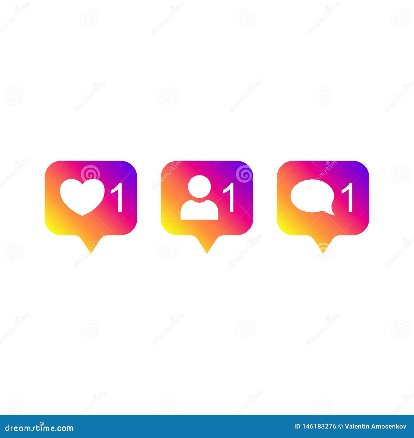 Og?lnospo?eczny medialny Instagram nowo?ytny jak 1, zwolennik 1, komentarza 1 gradientowy kolor Jak, zwolennik, komentarza guzik,