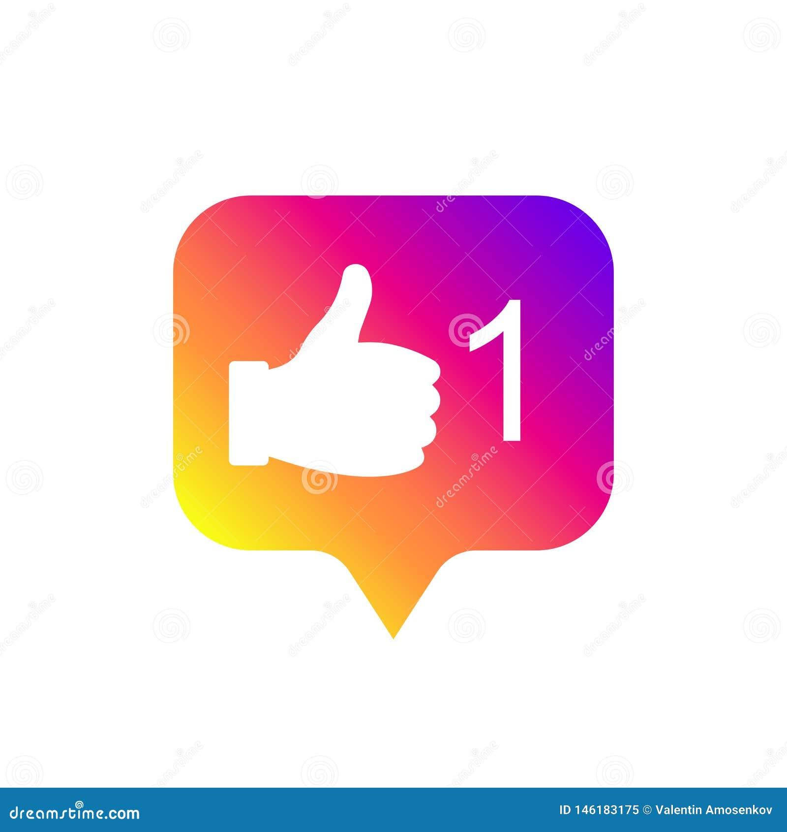 Og?lnospo?eczny medialny nowo?ytny jak znak, gradientowy kolor Jak guzik, ikona, symbol, ui, app, sie? r?wnie? zwr?ci? corel ilus