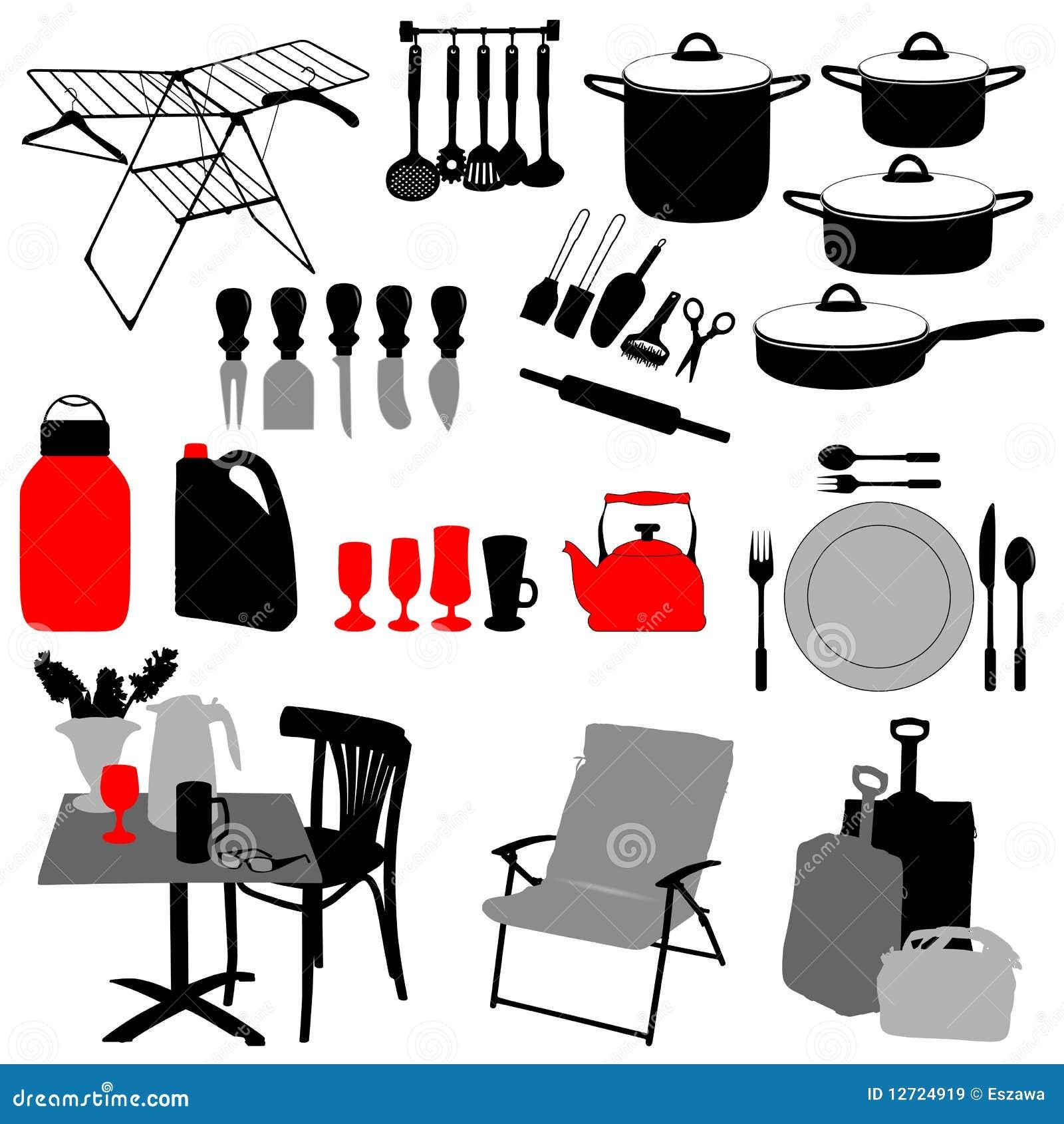 oggetti della cucina illustrazione vettoriale