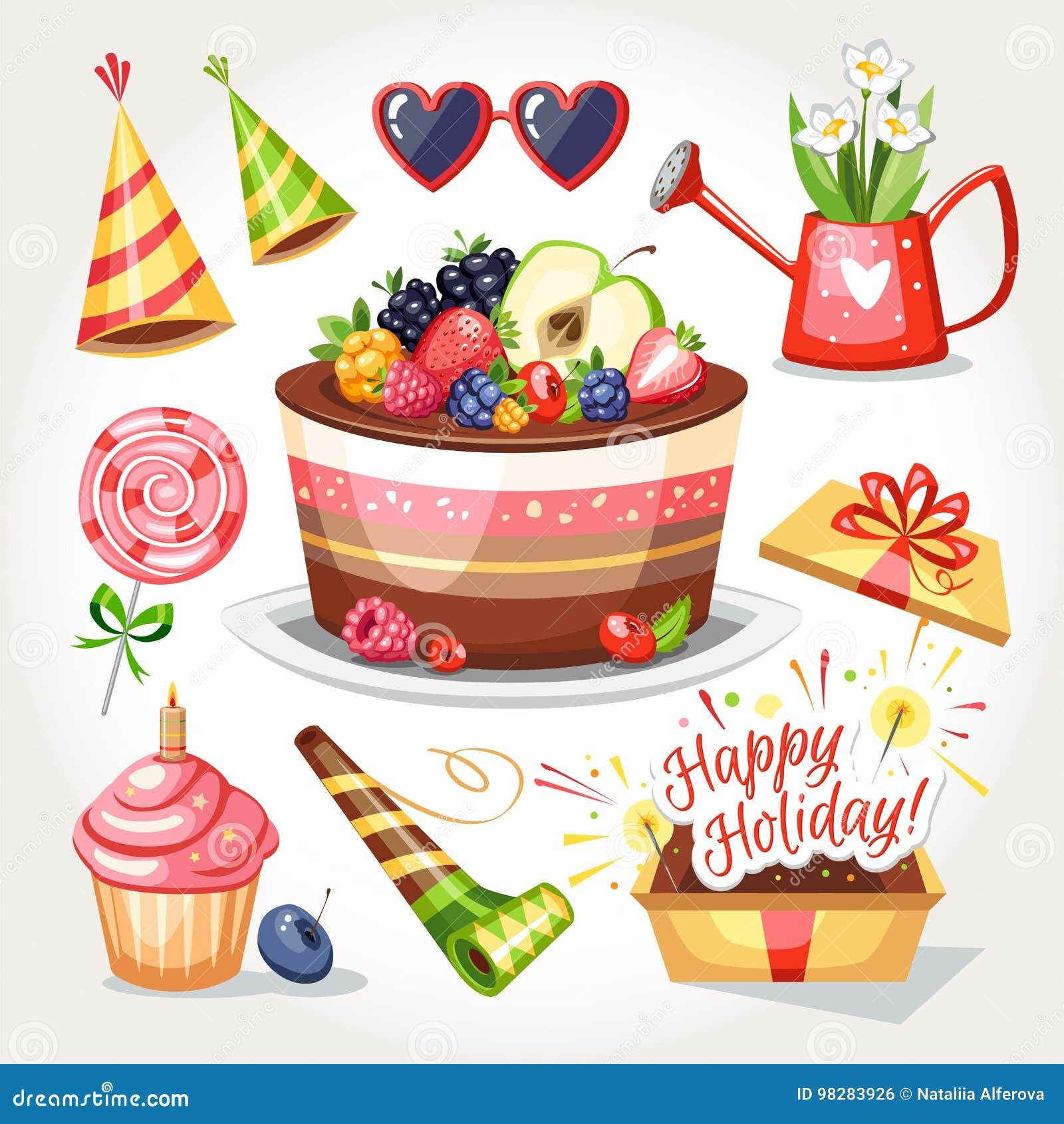 Festa A Sorpresa Di Compleanno oggetti di compleanno di festa illustrazione vettoriale