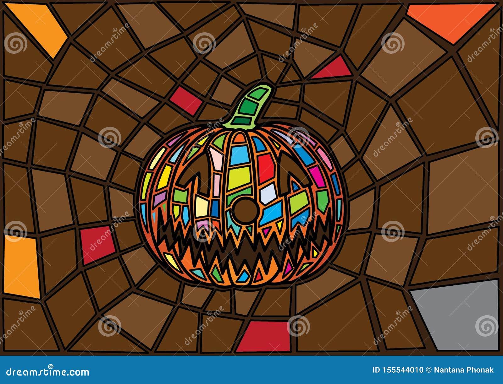 Oggetti di Halloween stile decorativo del vetro macchiato delle zucche di vettore dell illustrazione