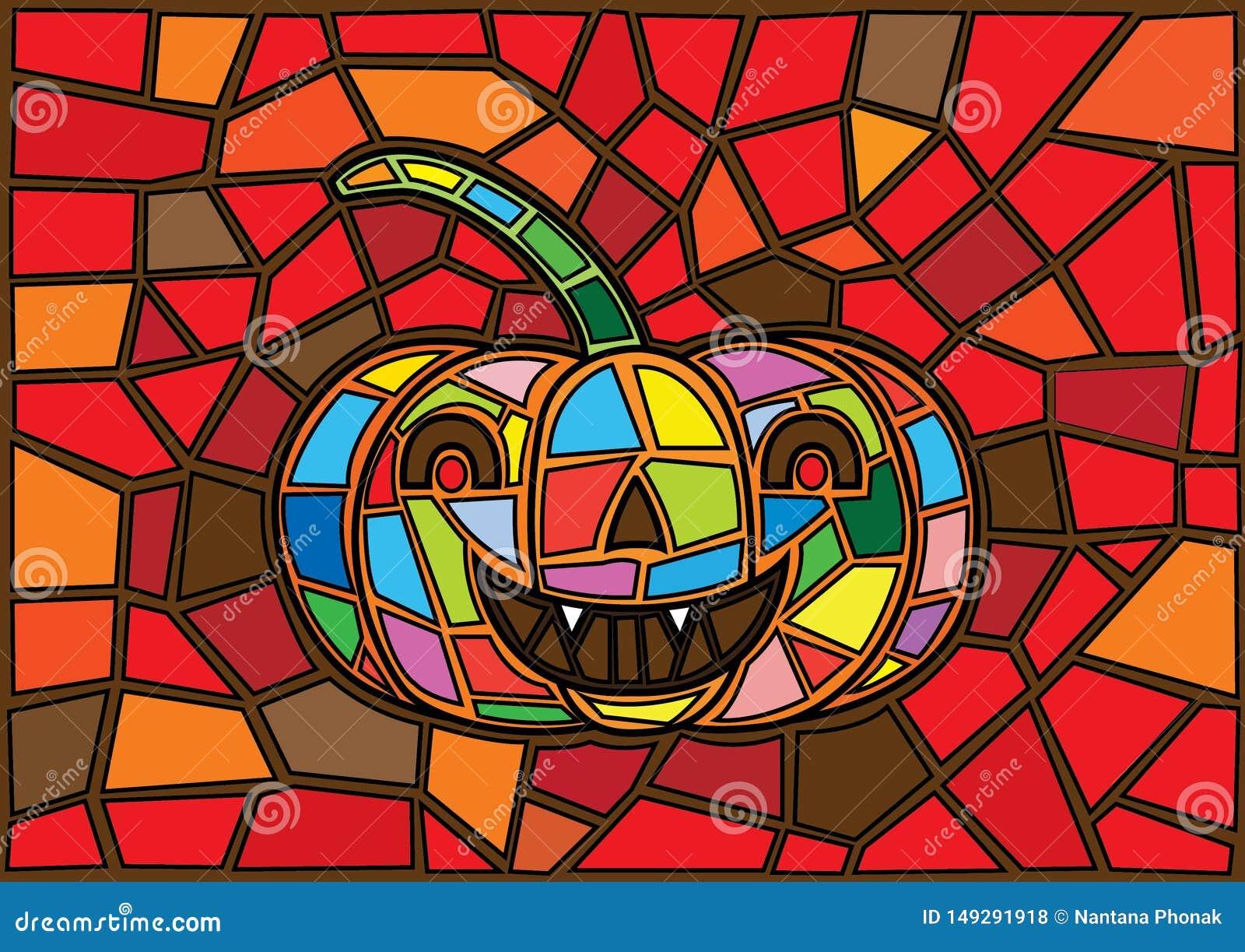 Oggetti di Halloween Stile decorativo del vetro macchiato delle zucche di vettore