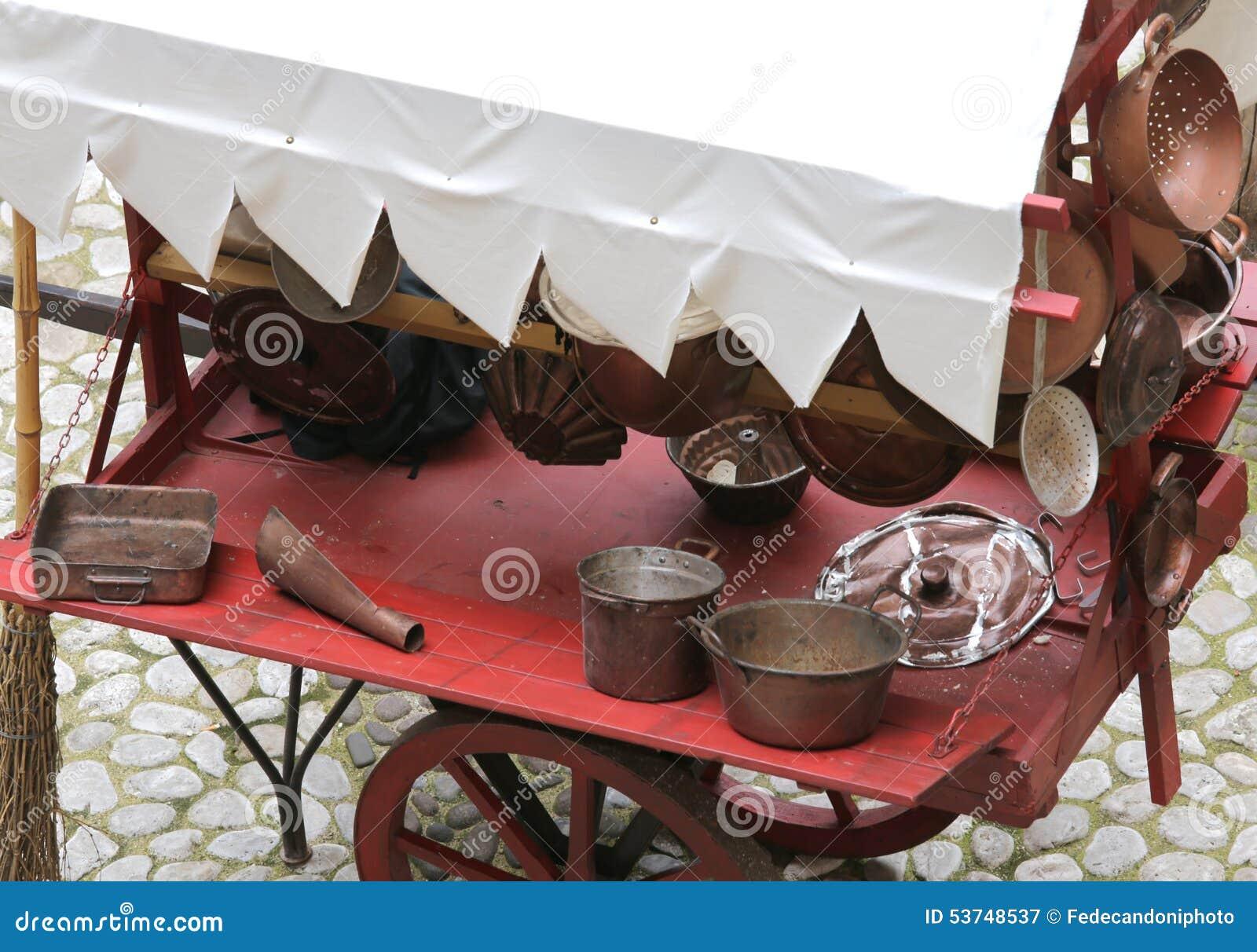 Oggetti Di Rame Per La Cucina Immagine Stock - Immagine di ...
