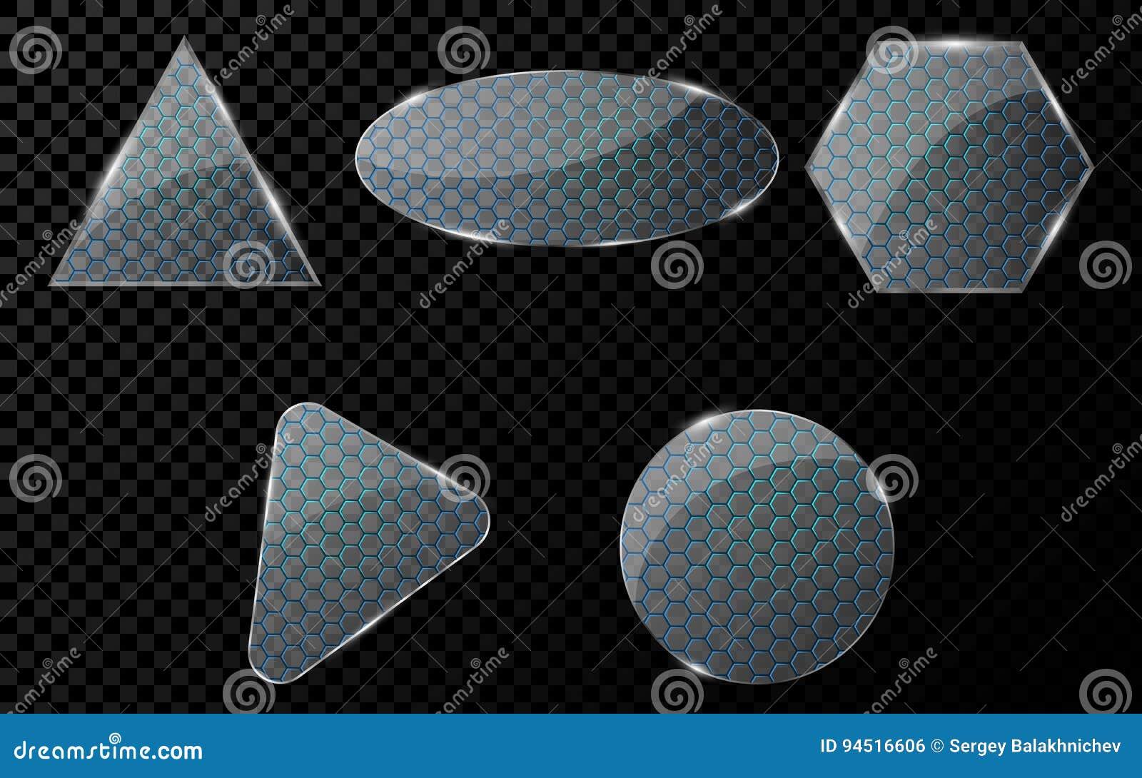 Oggetti di vetro con un modello cyber del favo con illuminazione