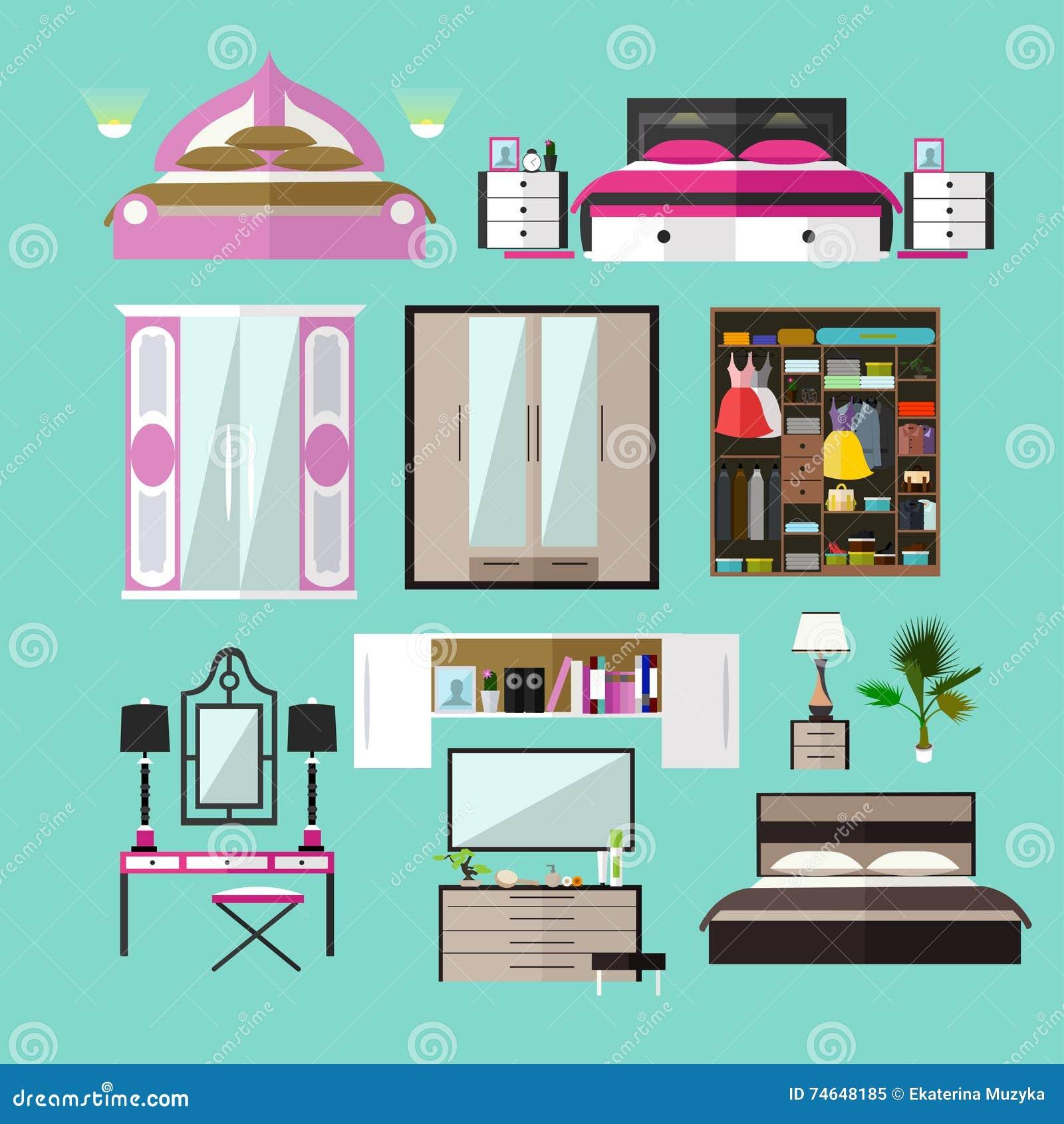 Oggetti interni della camera da letto nello stile piano for Piano di abbozzo domestico