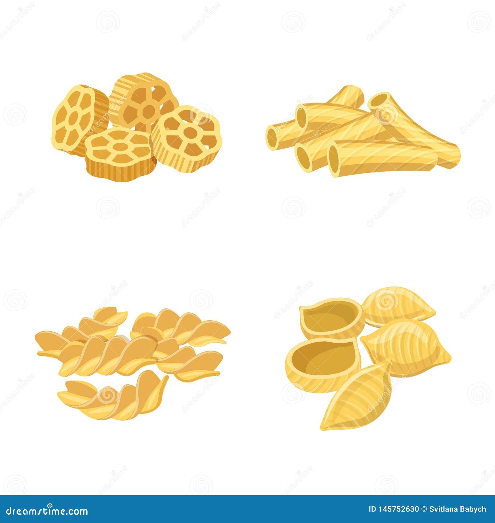 Oggetto isolato del logo del carboidrato e della pasta Raccolta del simbolo di riserva dei maccheroni e della pasta per il web
