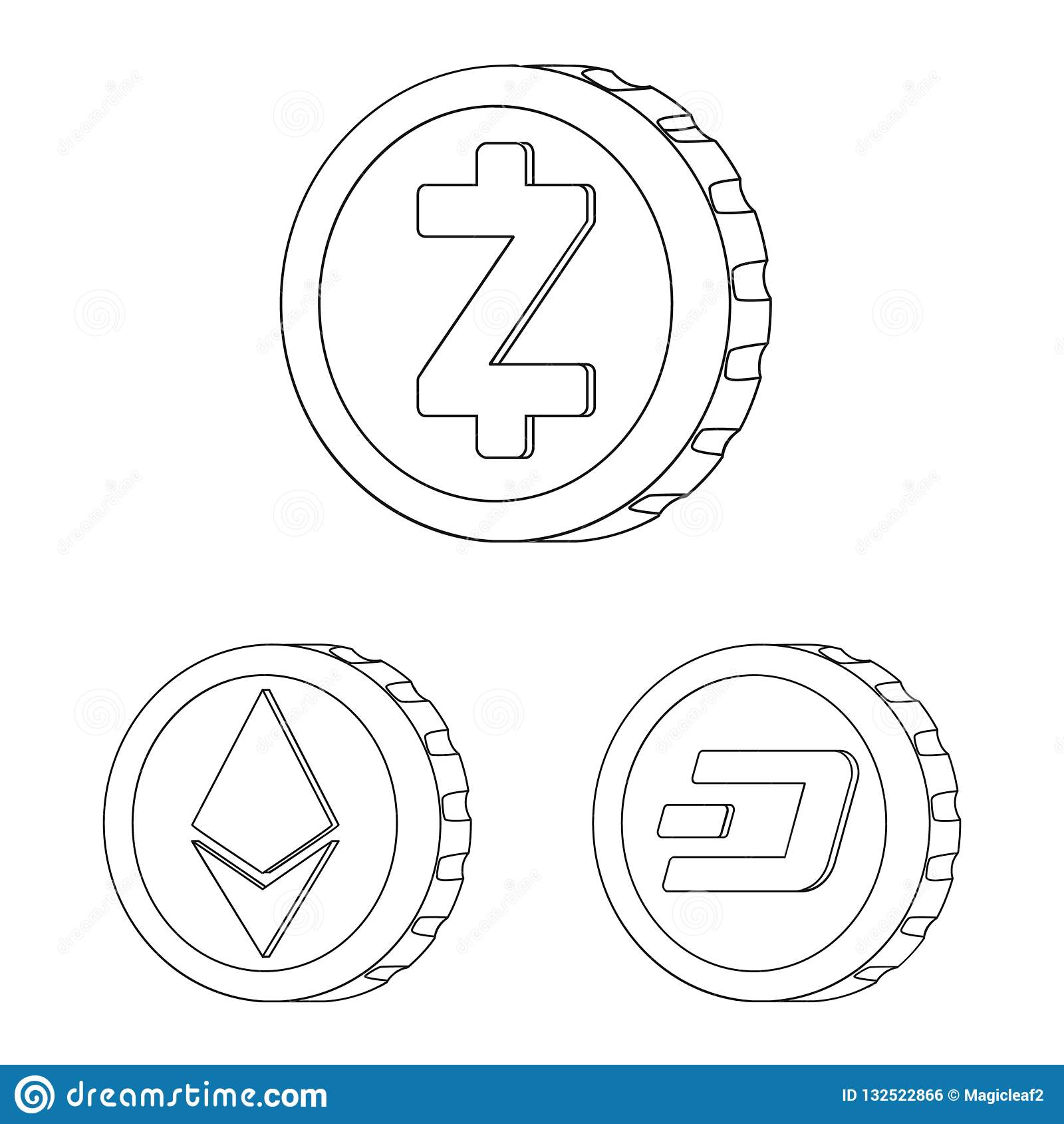 Oggetto isolato del segno della moneta e di cryptocurrency Insieme del cryptocurrency ed icona cripto di vettore per le azione