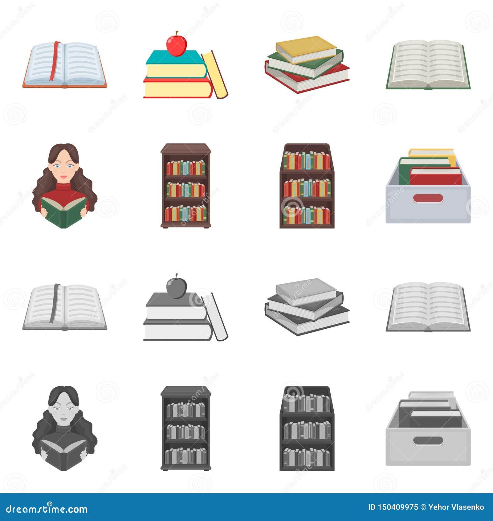 Oggetto isolato dell icona del manuale e delle biblioteche Metta dell illustrazione di riserva di vettore della scuola e delle bi