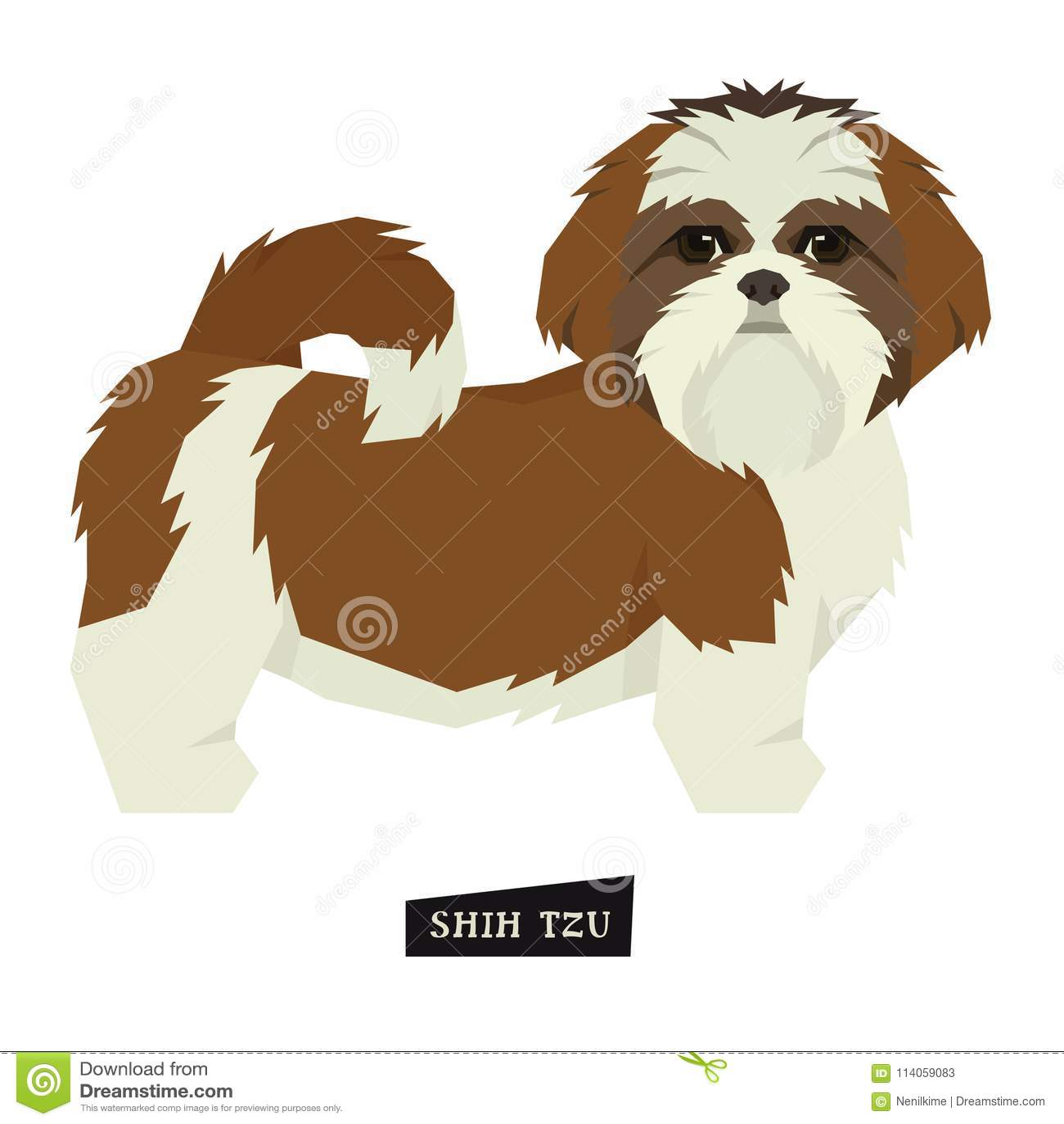 Oggetto isolato stile di Shih Tzu Geometric della raccolta del cane