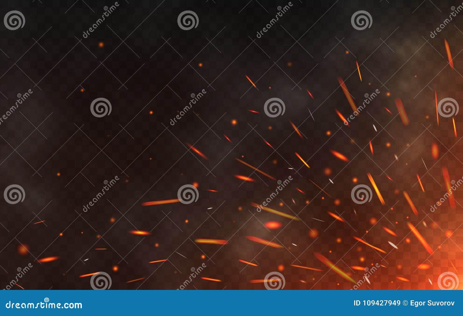 Ogień iskrzy latanie up na przejrzystym tle Dymne i rozjarzone cząsteczki na czerni Realistyczny oświetlenie iskrzy z