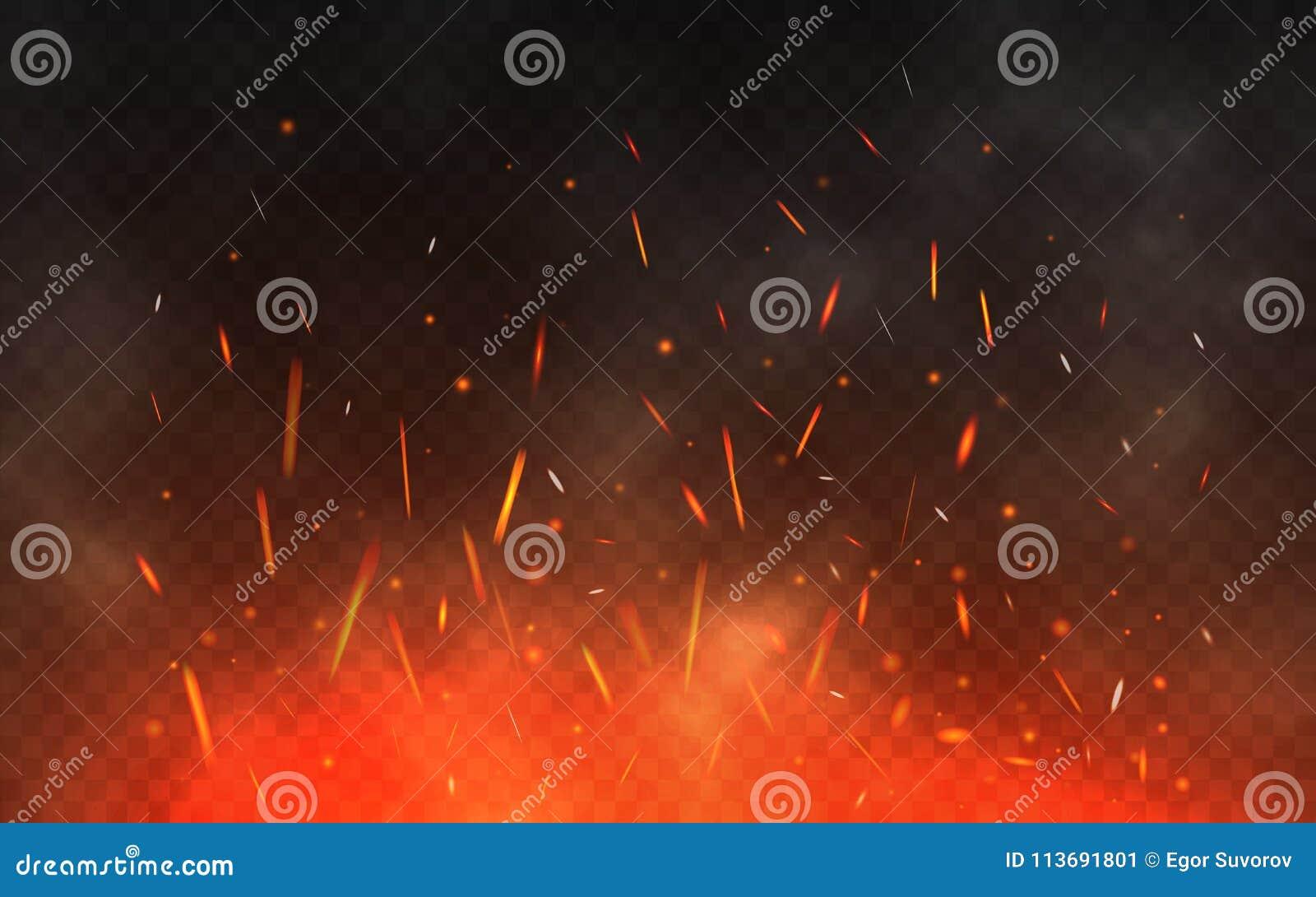 Ogień iskrzy latanie up Rozjarzone cząsteczki na przejrzystym tle Realistyczny ogień i dym czerwone światła żółtego