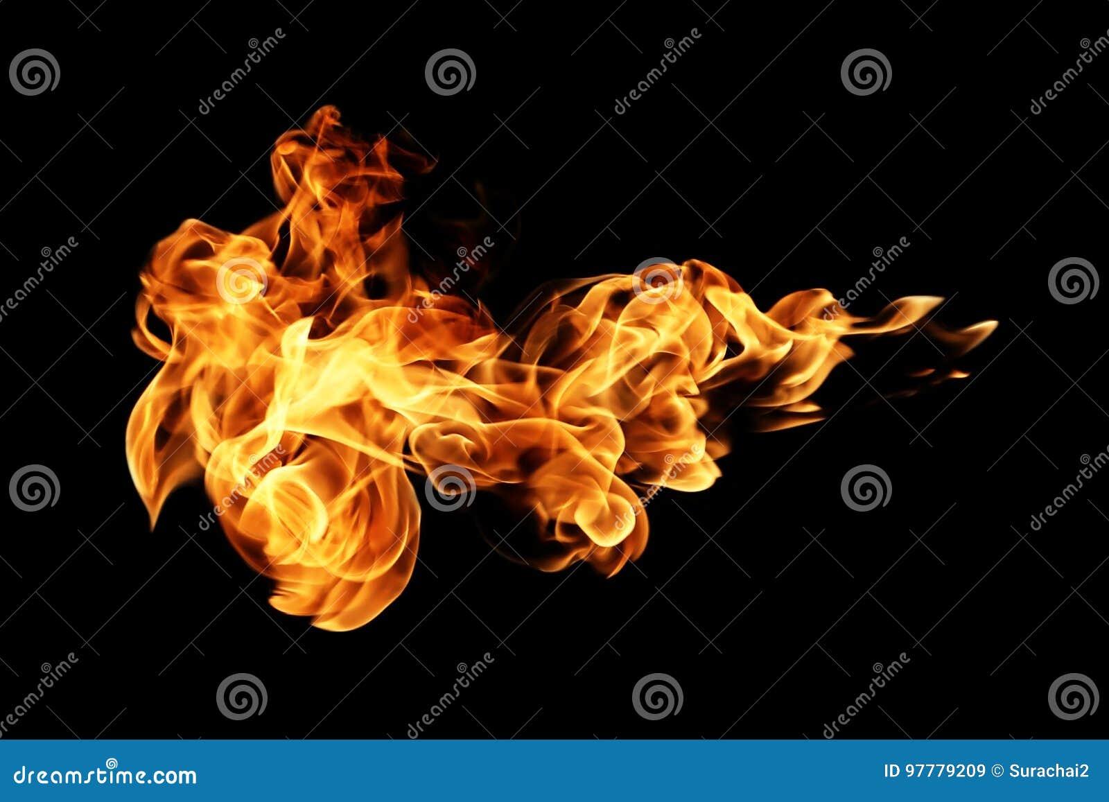 Ogieni płomienie odizolowywający na czerni