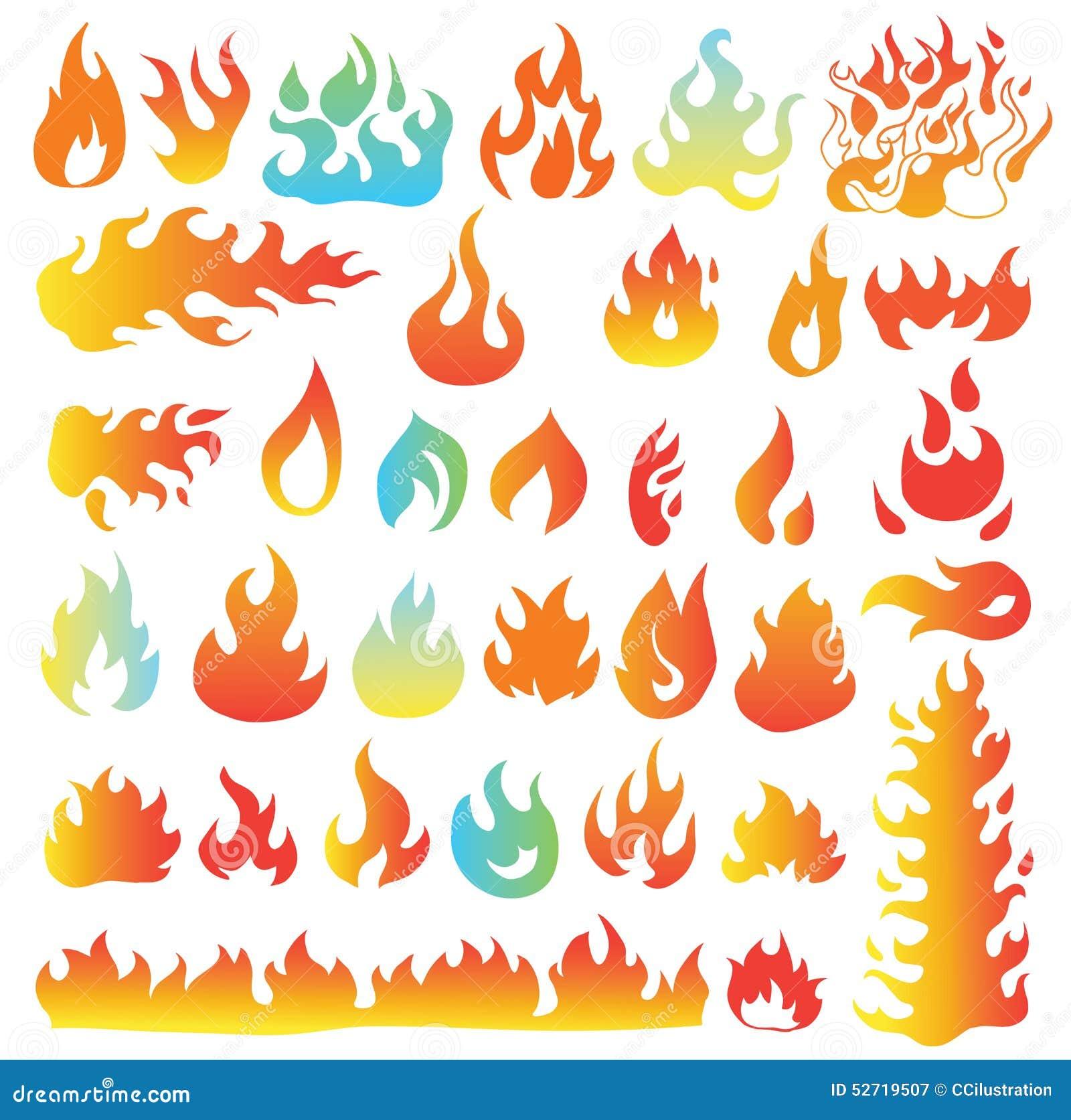 Ogieni płomienie, ustawiają ikony, wektorowa ilustracja