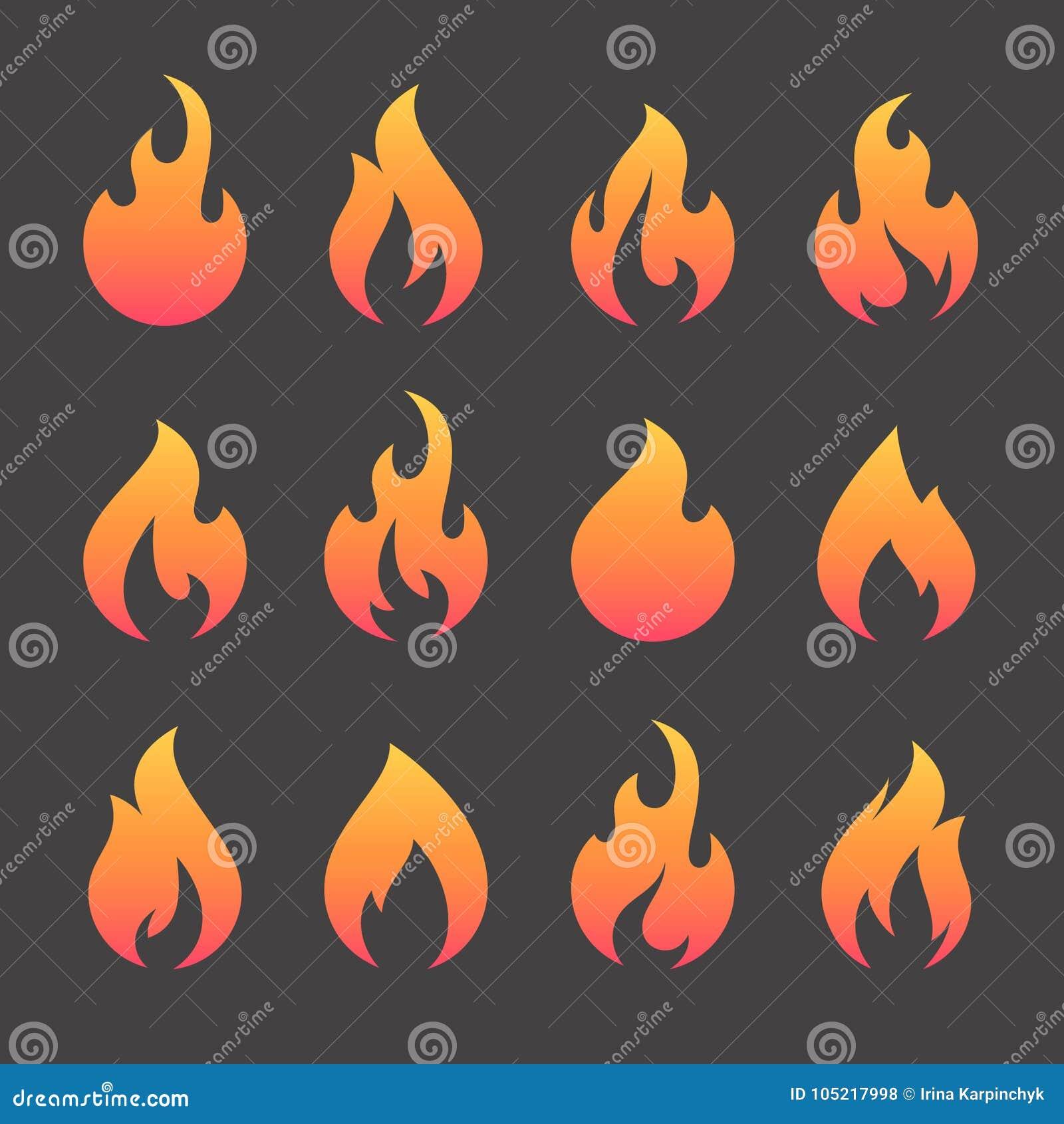 Ogieni płomienie, ustawiają wektorowe ikony opieczenie grill