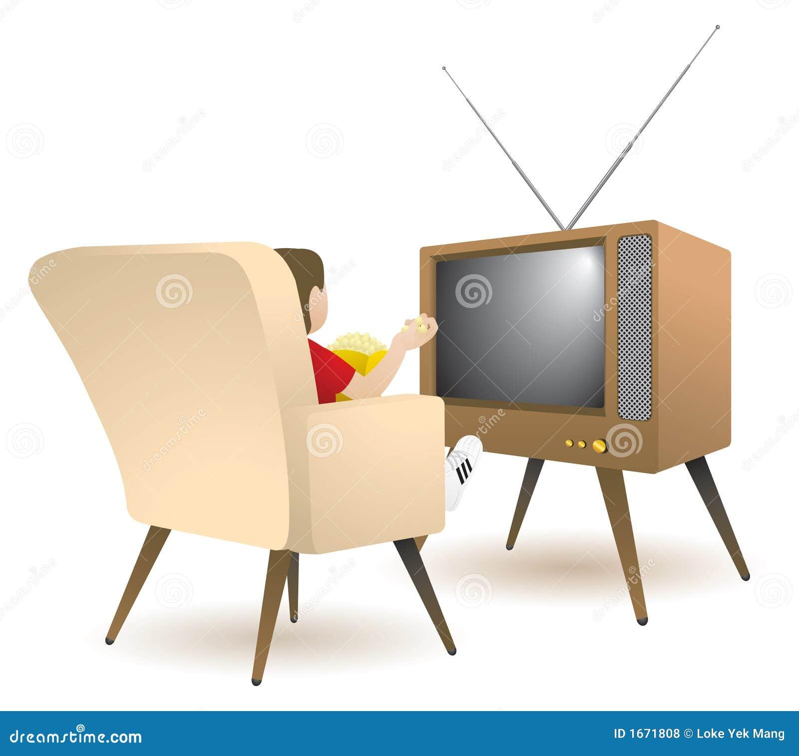 Oglądanie tv chłopca