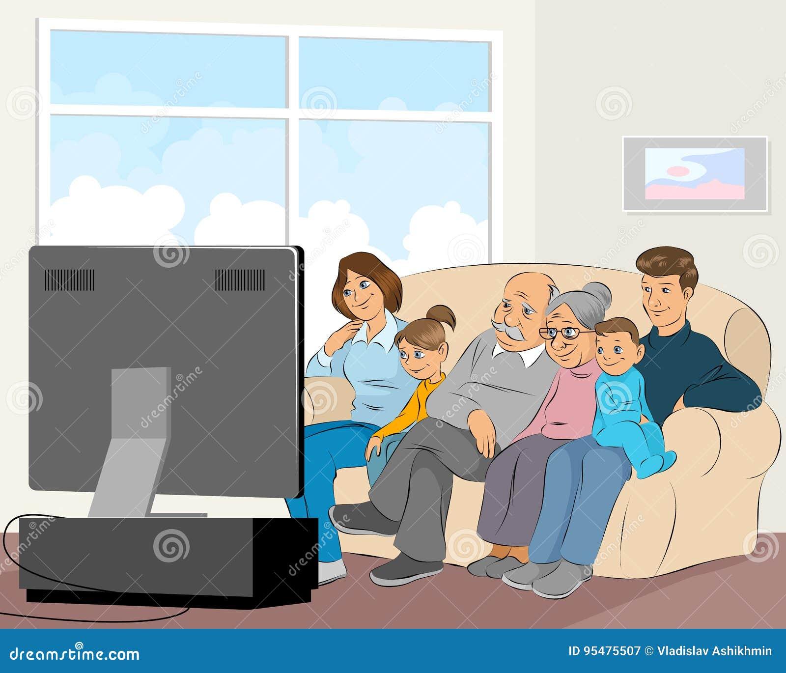 Oglądanie tv rodziny