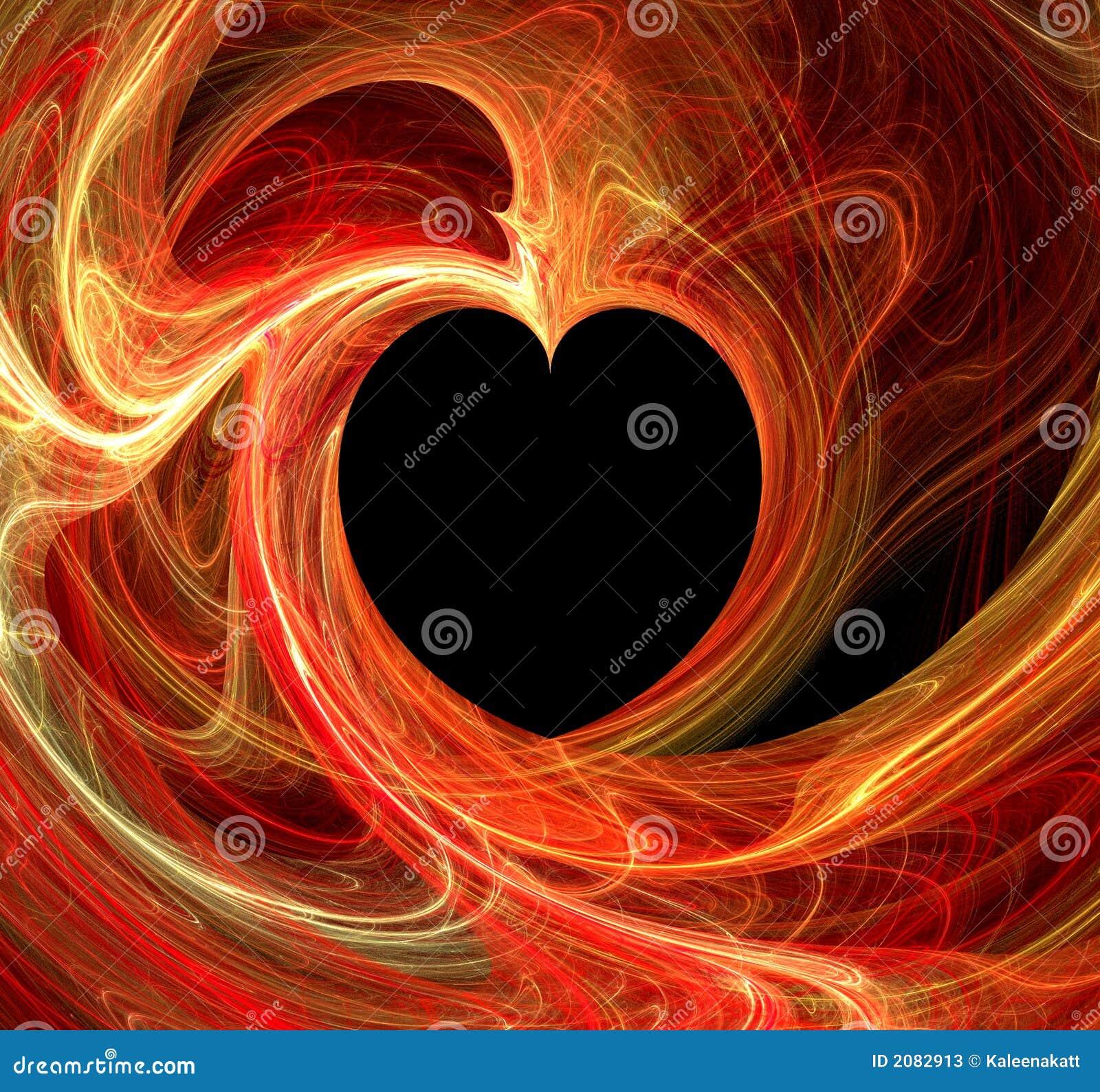 Ognisty fractal czarne serce
